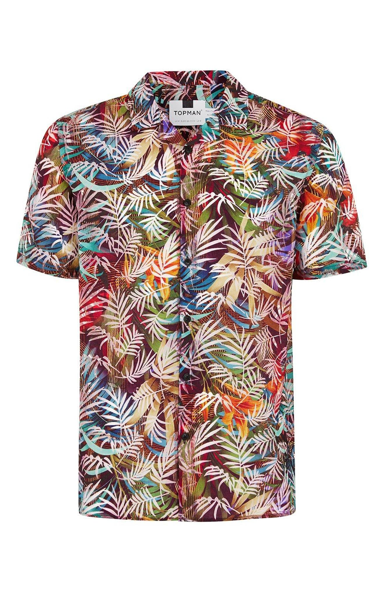 Rainbow Palm Print Shirt,                             Alternate thumbnail 3, color,                             Red Multi