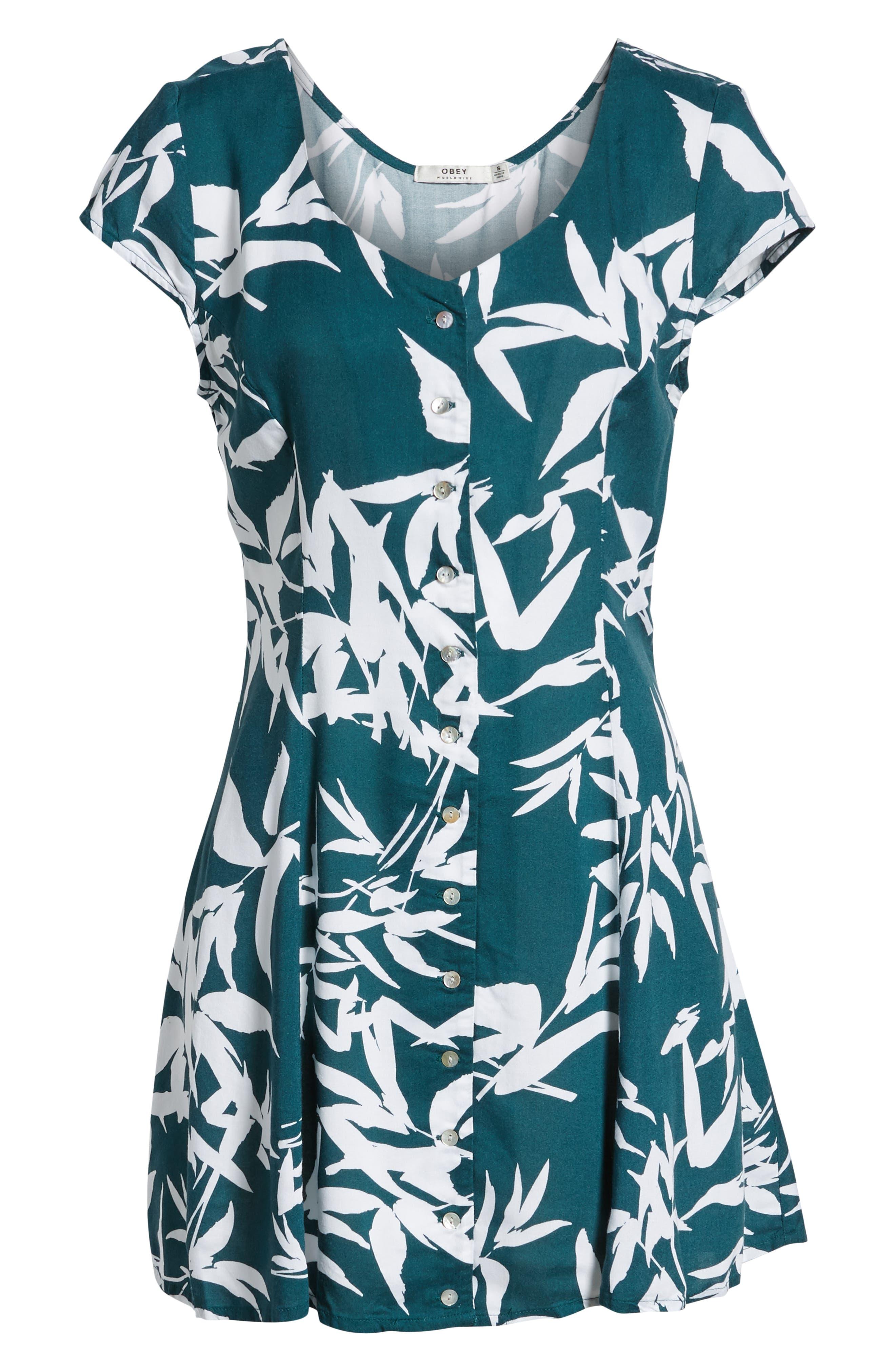 Calico Leaf Print Dress,                             Alternate thumbnail 7, color,                             Spruce Multi