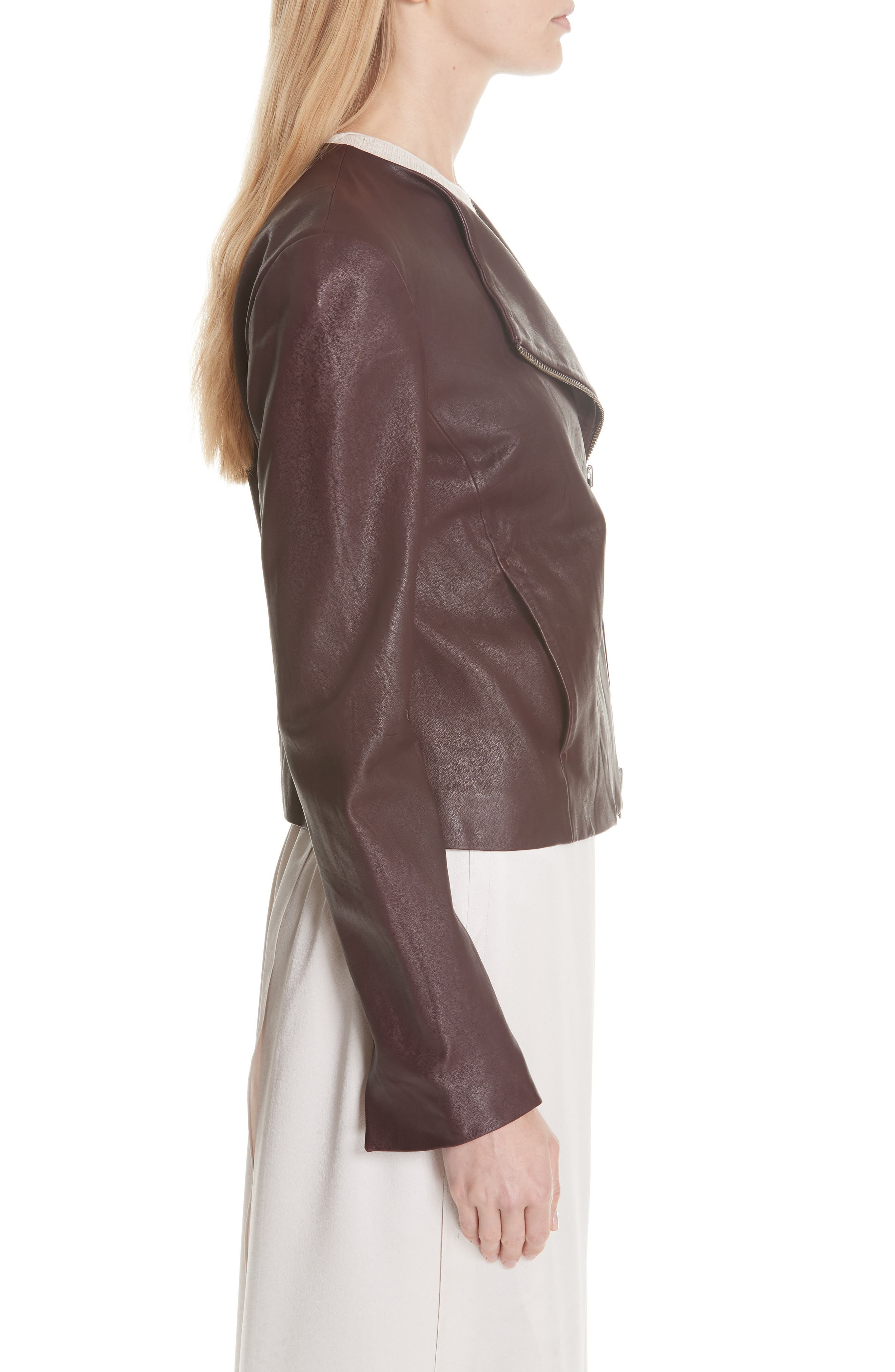 Zip Cross Front Leather Jacket,                             Alternate thumbnail 6, color,                             Black Cherry