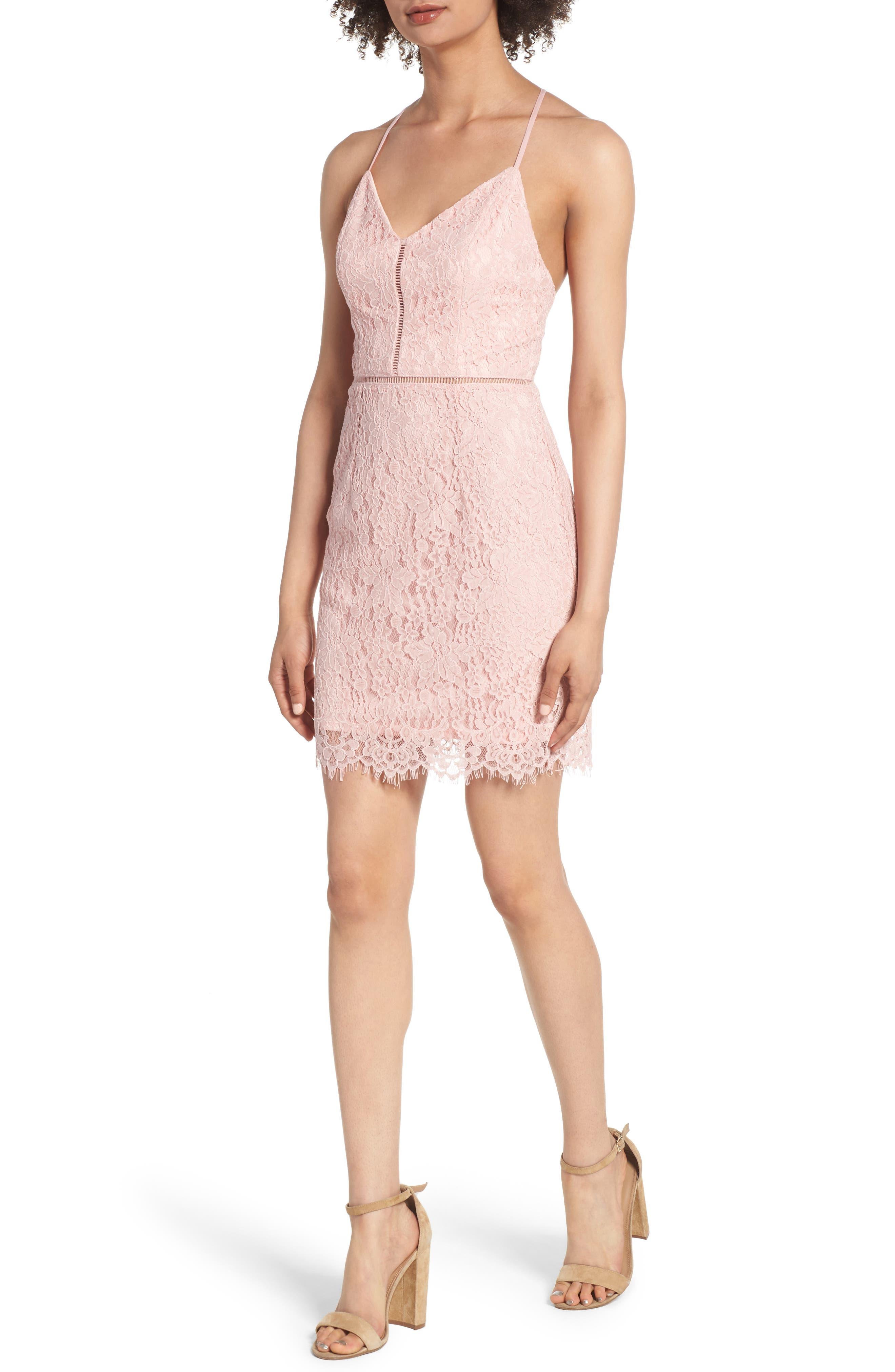 Lattice Lace Body-Con Dress,                             Main thumbnail 1, color,                             Pink Silver