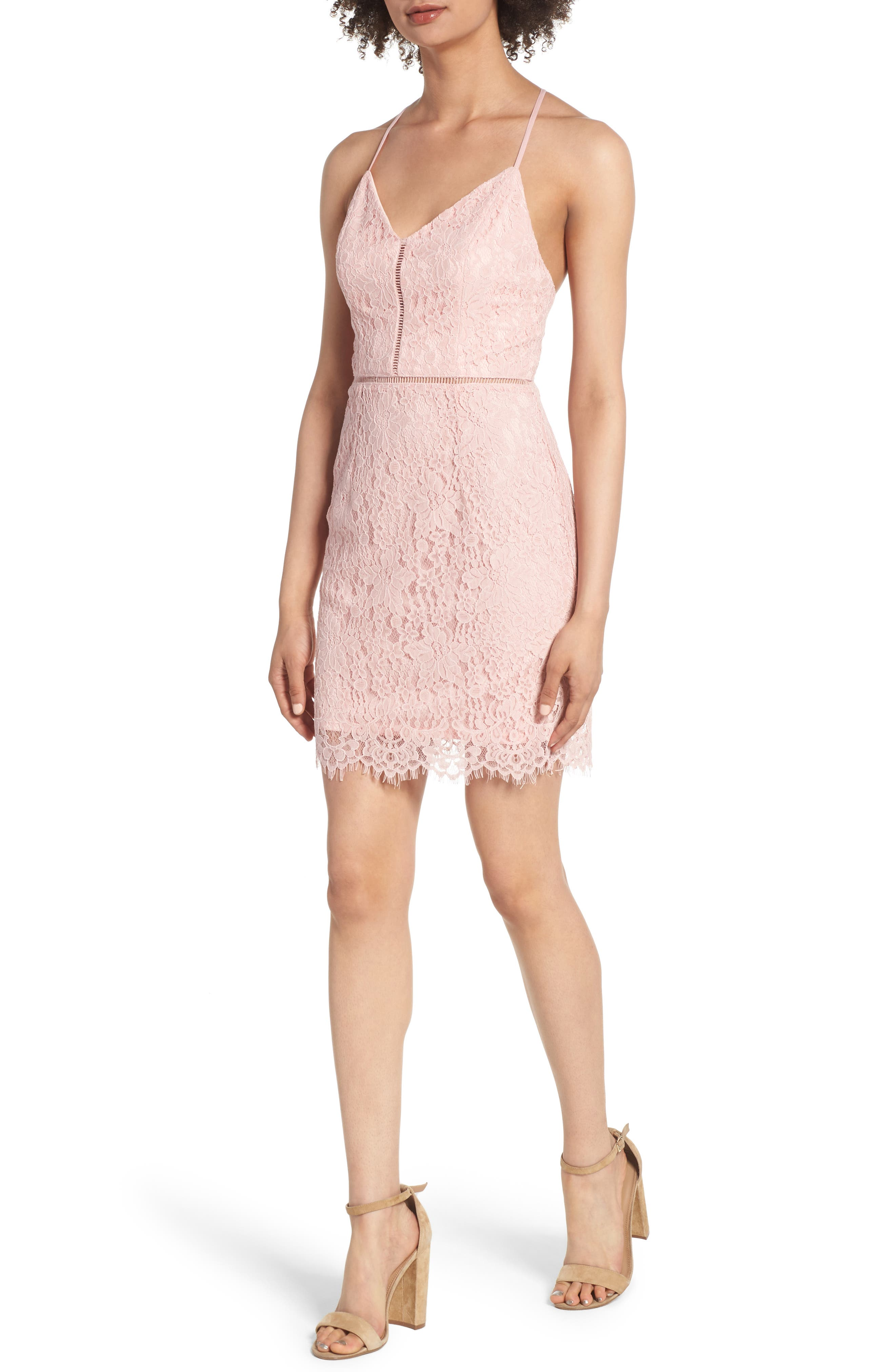 Lattice Lace Body-Con Dress,                         Main,                         color, Pink Silver
