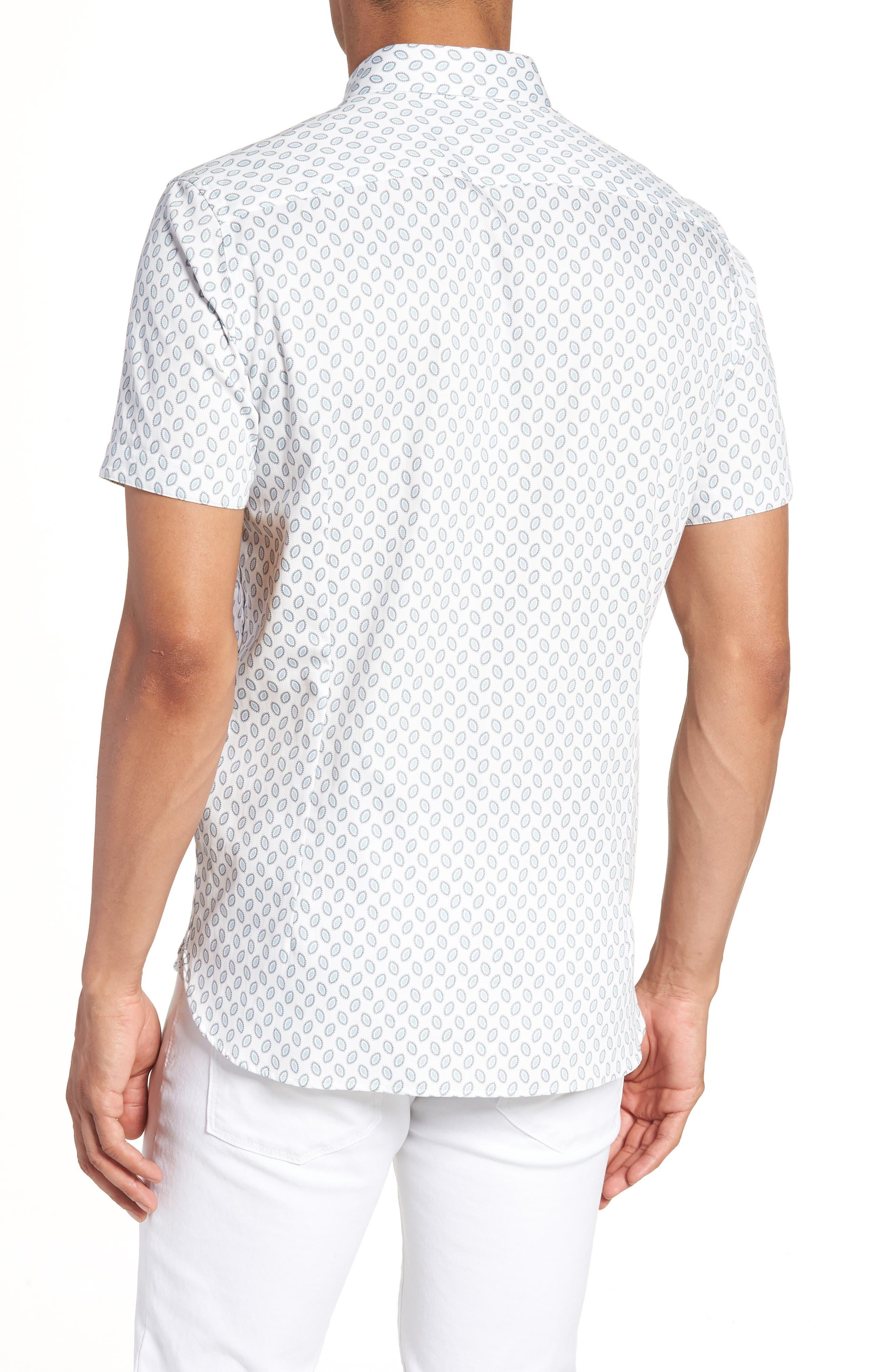 Newfone Trim Fit Chambray Sport Shirt,                             Alternate thumbnail 3, color,                             White