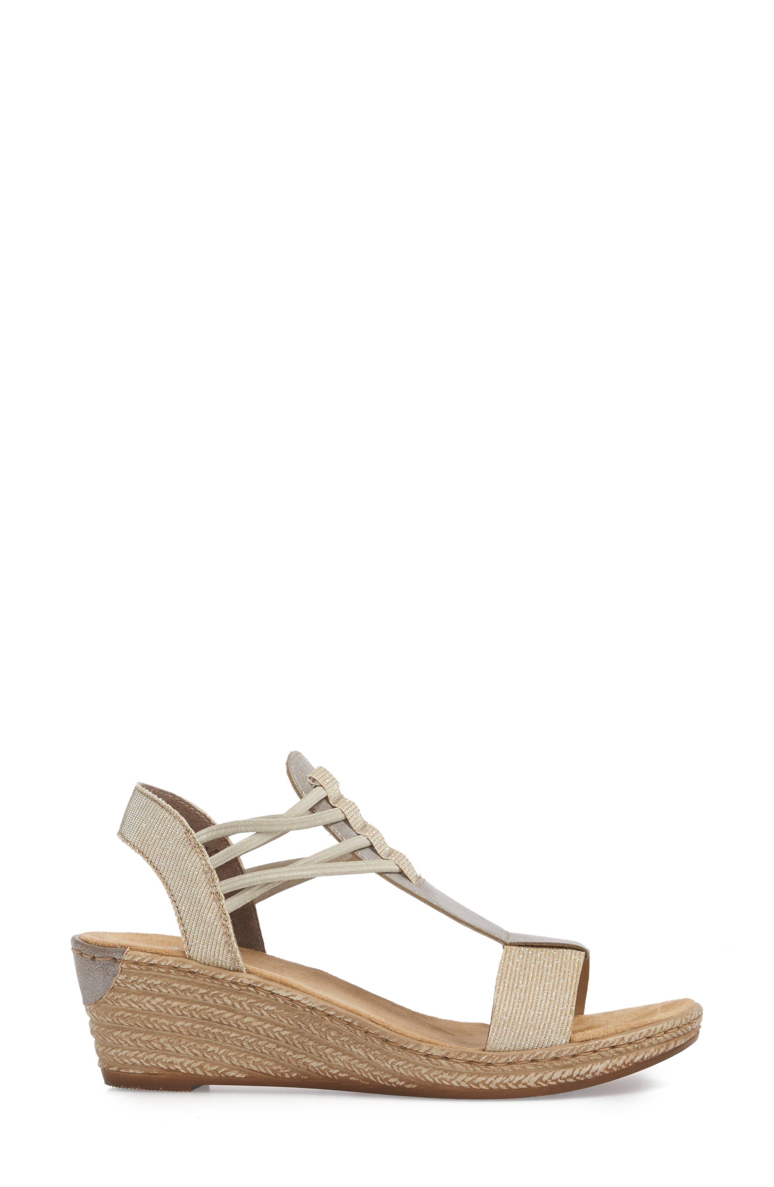 Fanni 22 Espadrille Wedge Sandal,                             Alternate thumbnail 3, color,                             Light Gold/ Grey Fabric
