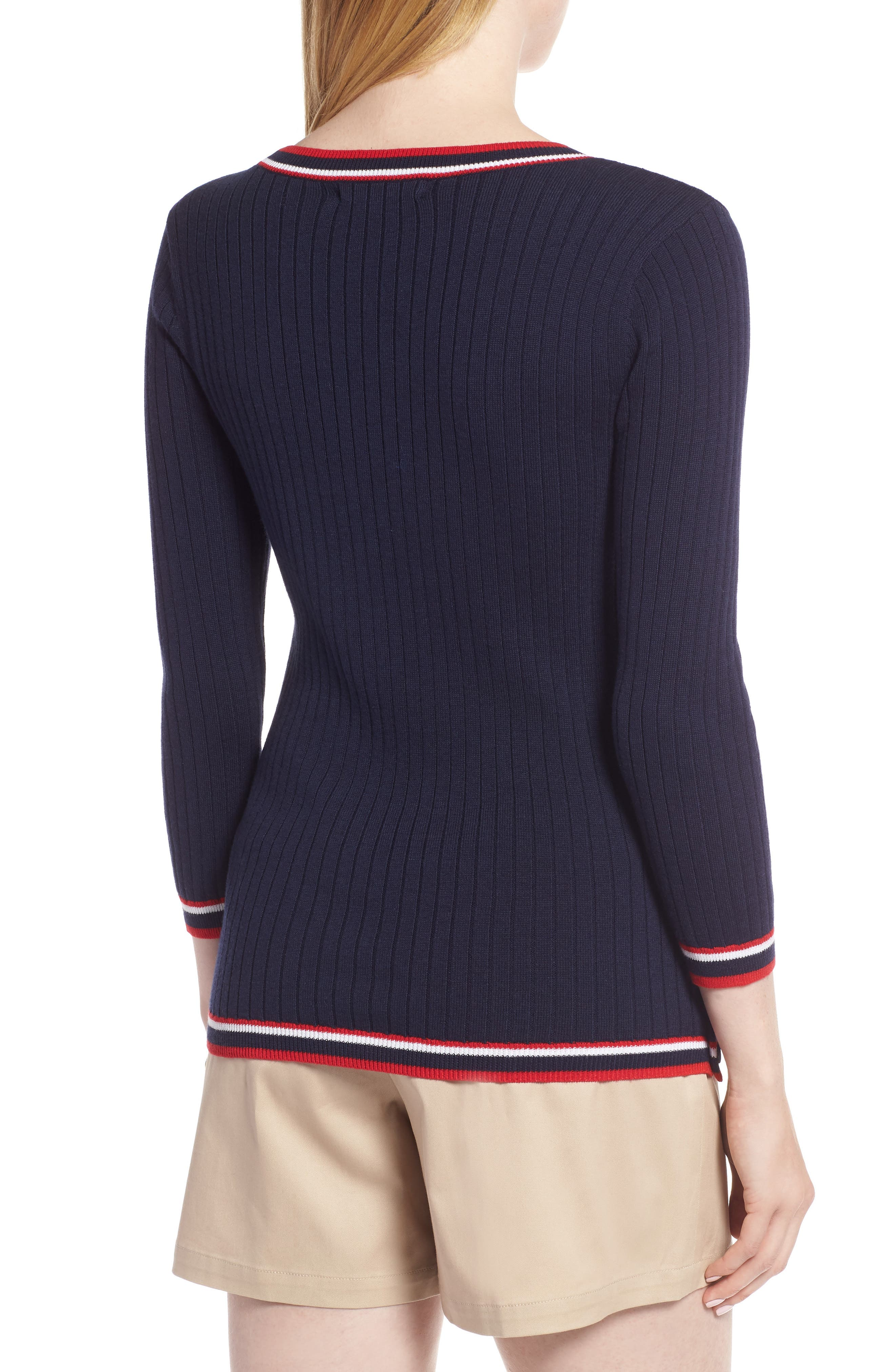 Tipped Cotton Blend Ribbed Sweater,                             Alternate thumbnail 2, color,                             Navy Peacoat