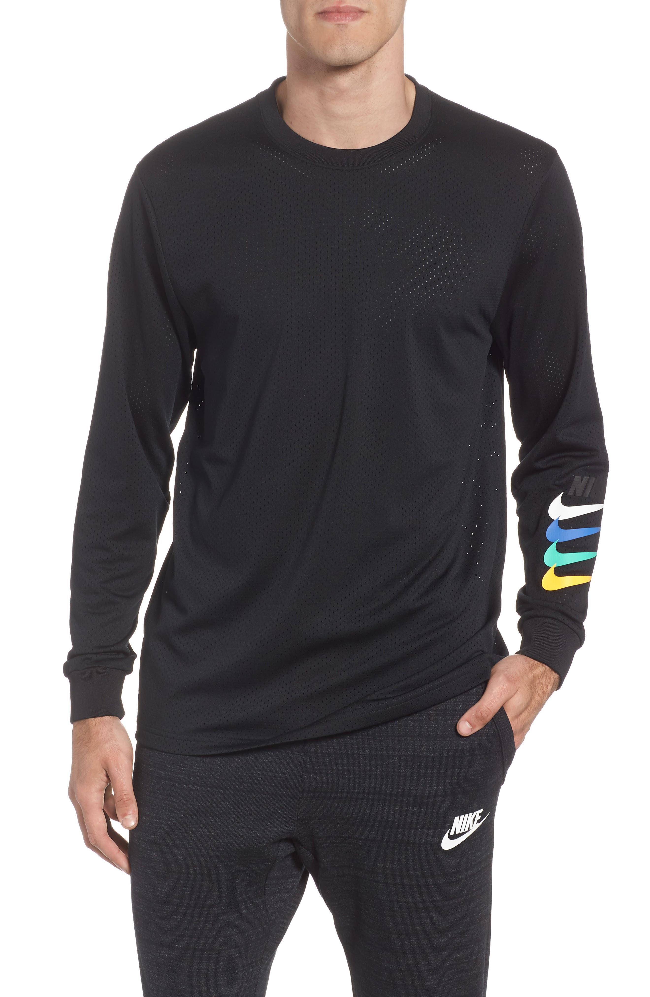 SB Dry GFX Long Sleeve T-Shirt,                             Main thumbnail 1, color,                             Black/ Black