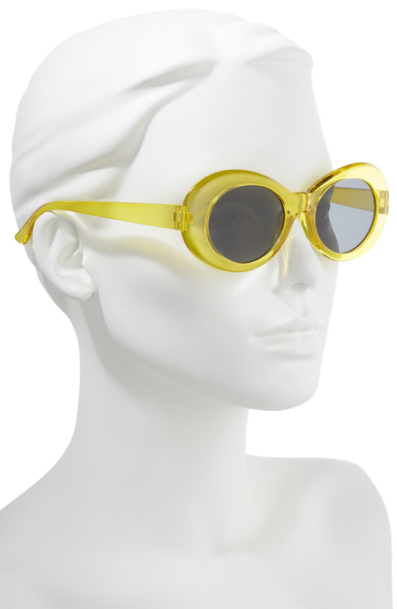 50mm Round Sunglasses,                             Alternate thumbnail 2, color,                             Clear Yellow