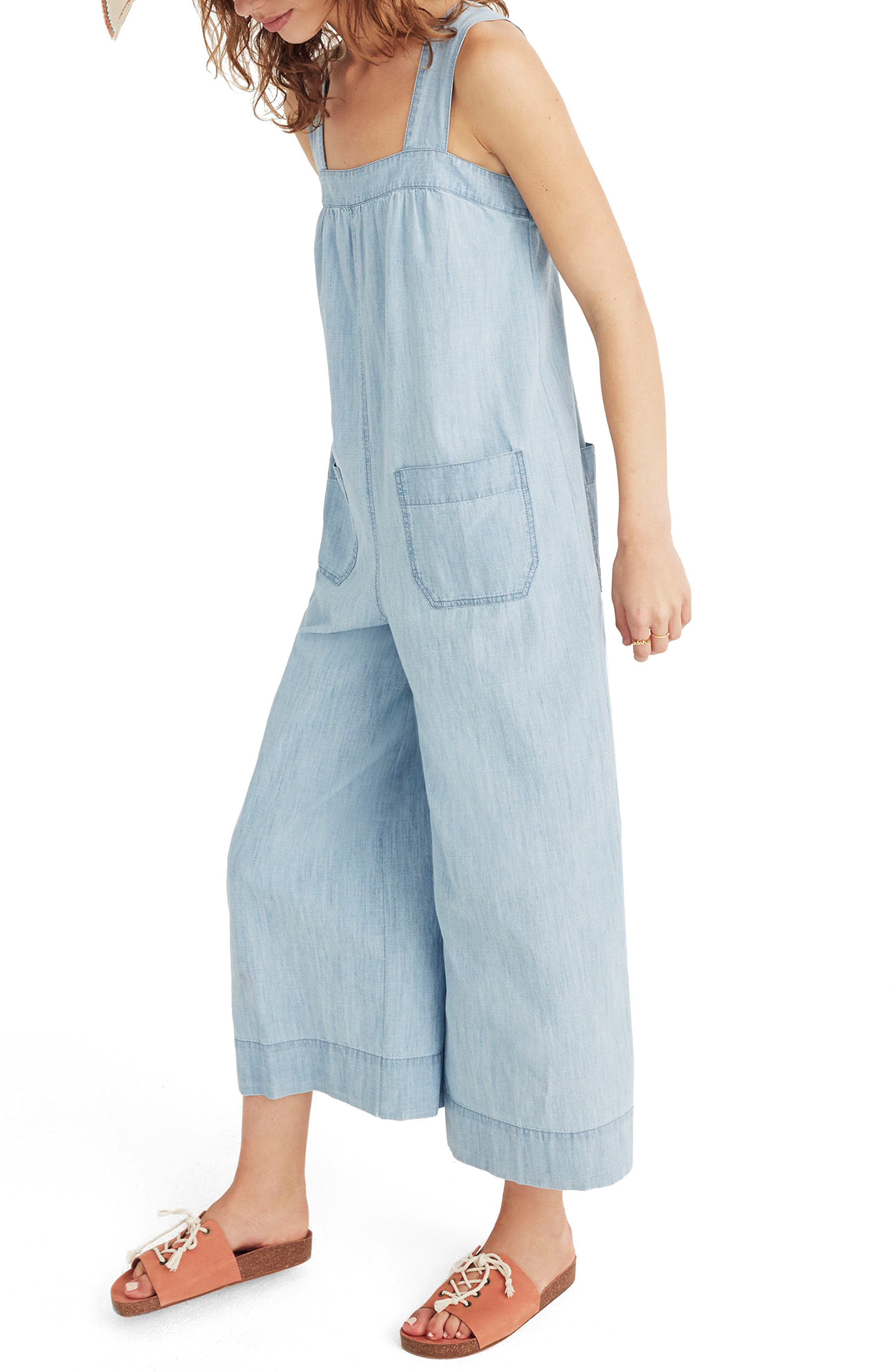 Chambray Wide Leg Jumpsuit,                             Alternate thumbnail 3, color,                             Cold Spring Wash
