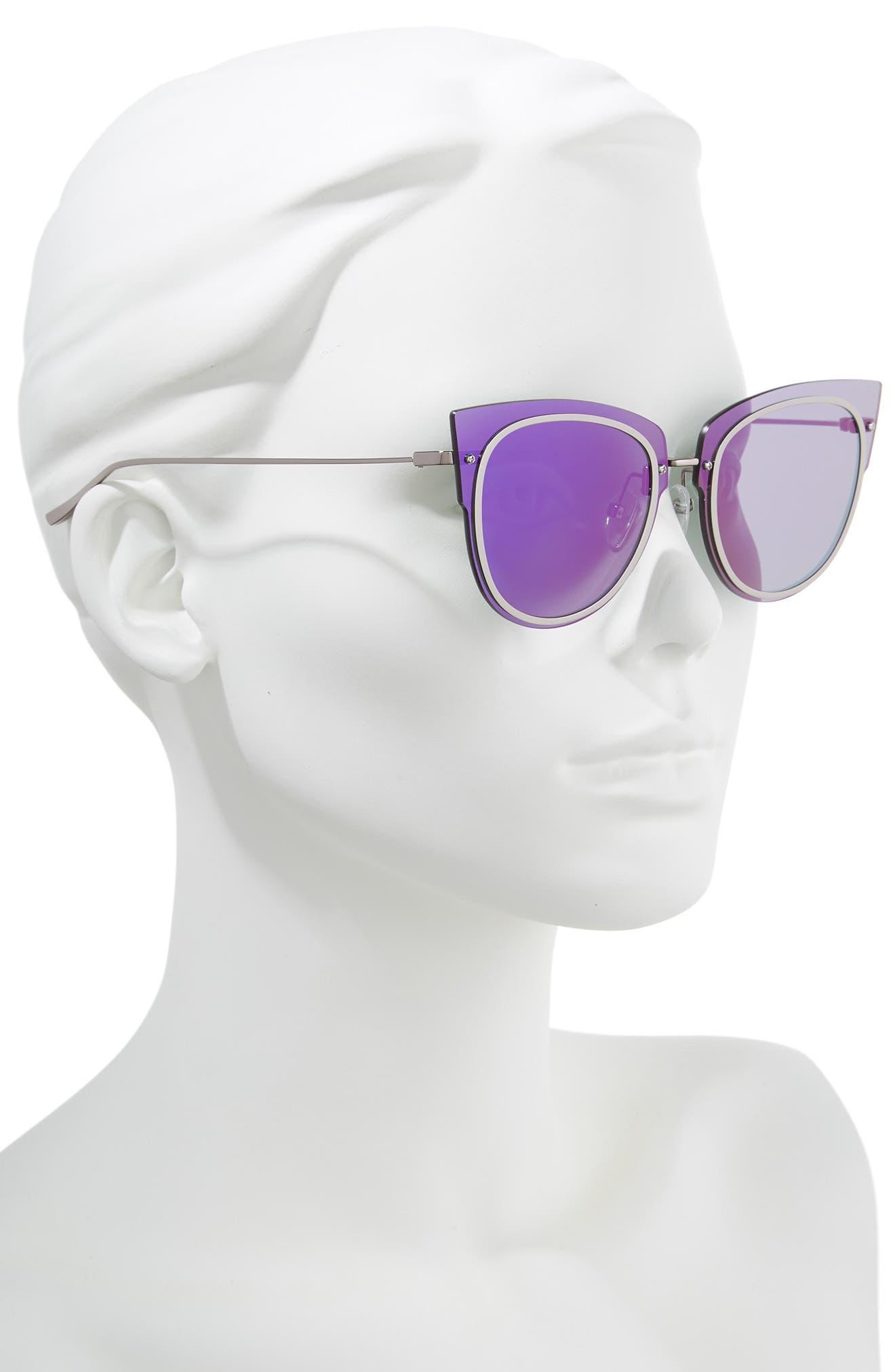 x Demi Lovato DEMI 50mm Rimless Cat Eye Sunglasses,                             Alternate thumbnail 2, color,                             Light Gunmetal/ Purple