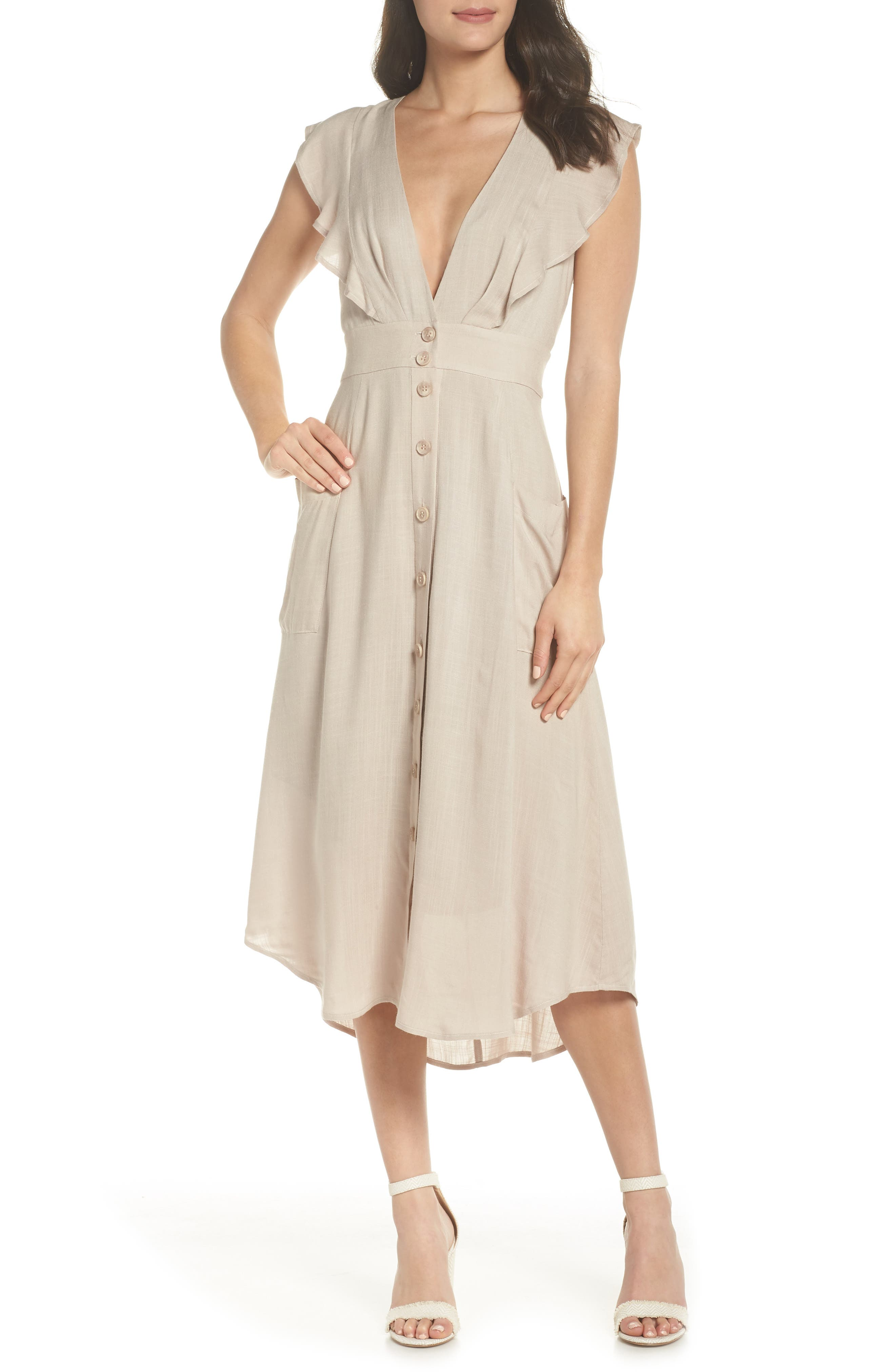 ADELYN RAE KELSEY BUTTON FRONT DRESS