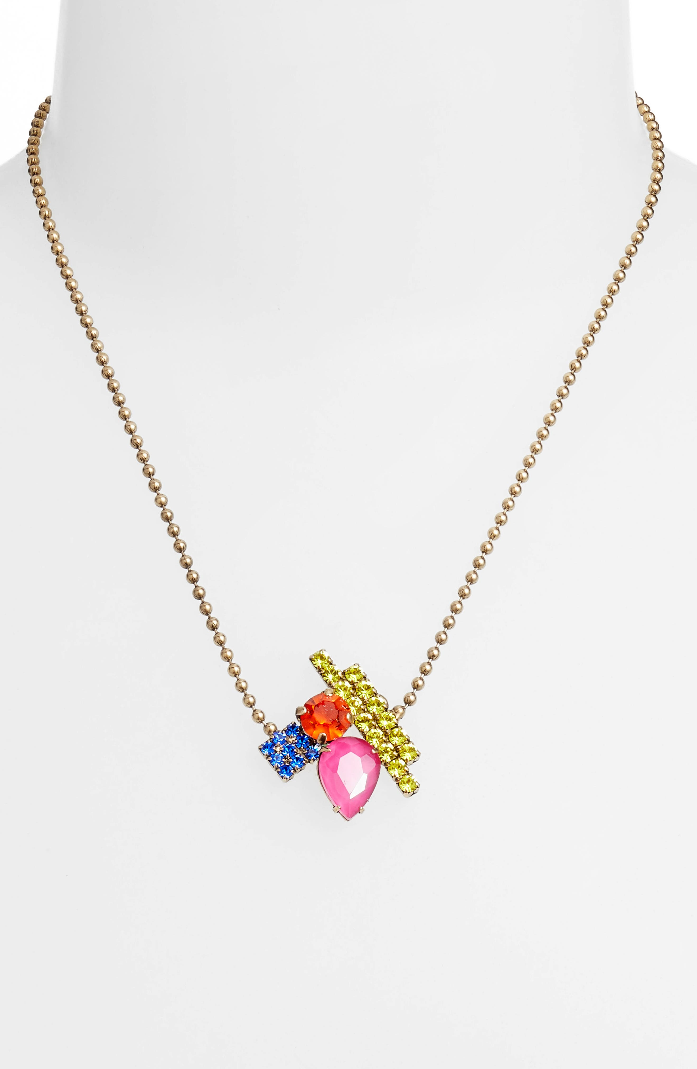 Avery Ball Chain Necklace,                             Alternate thumbnail 2, color,                             Gold Multi