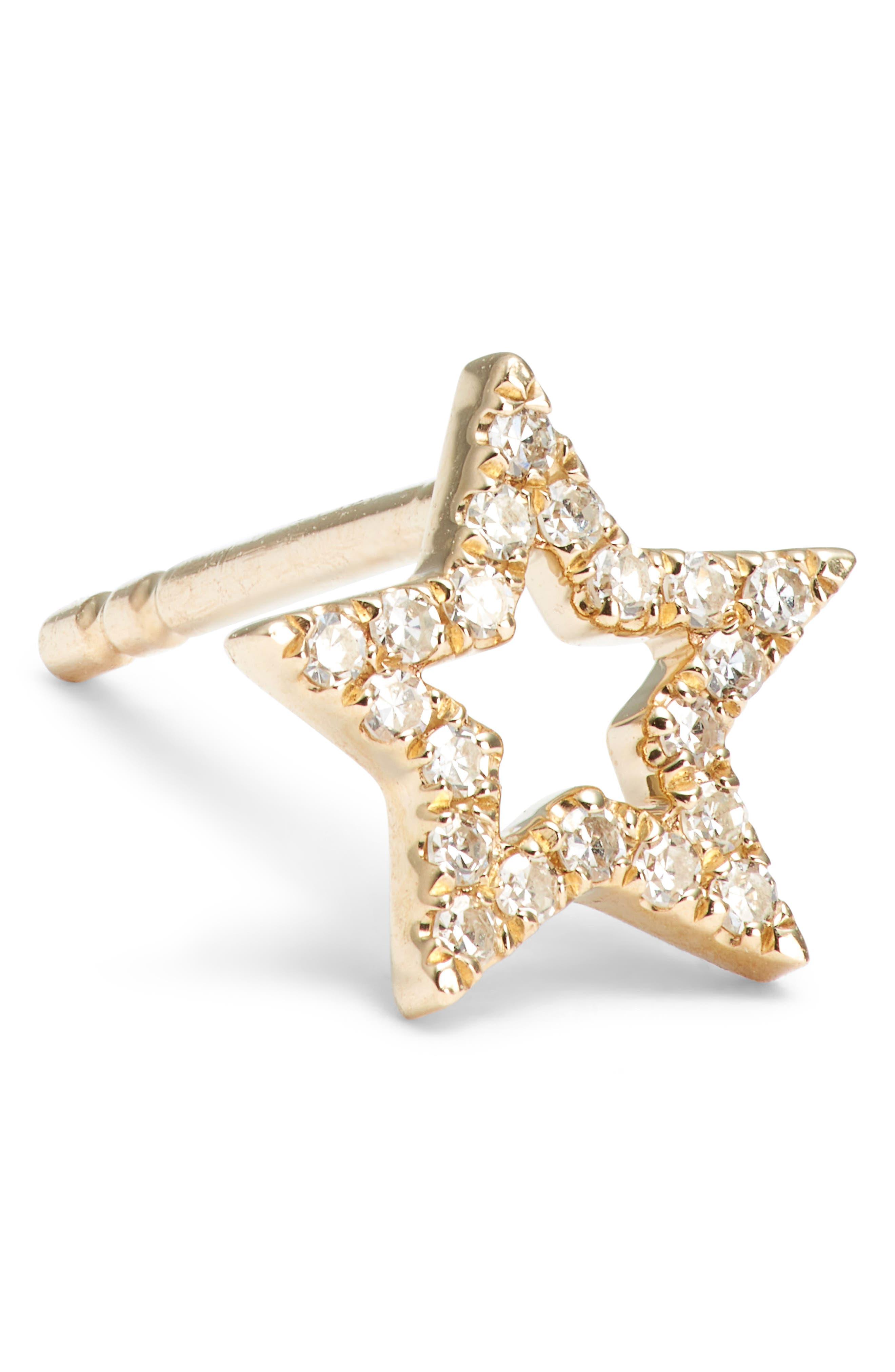 Open Star Diamond Stud Earrings,                             Alternate thumbnail 5, color,                             Yellow Gold