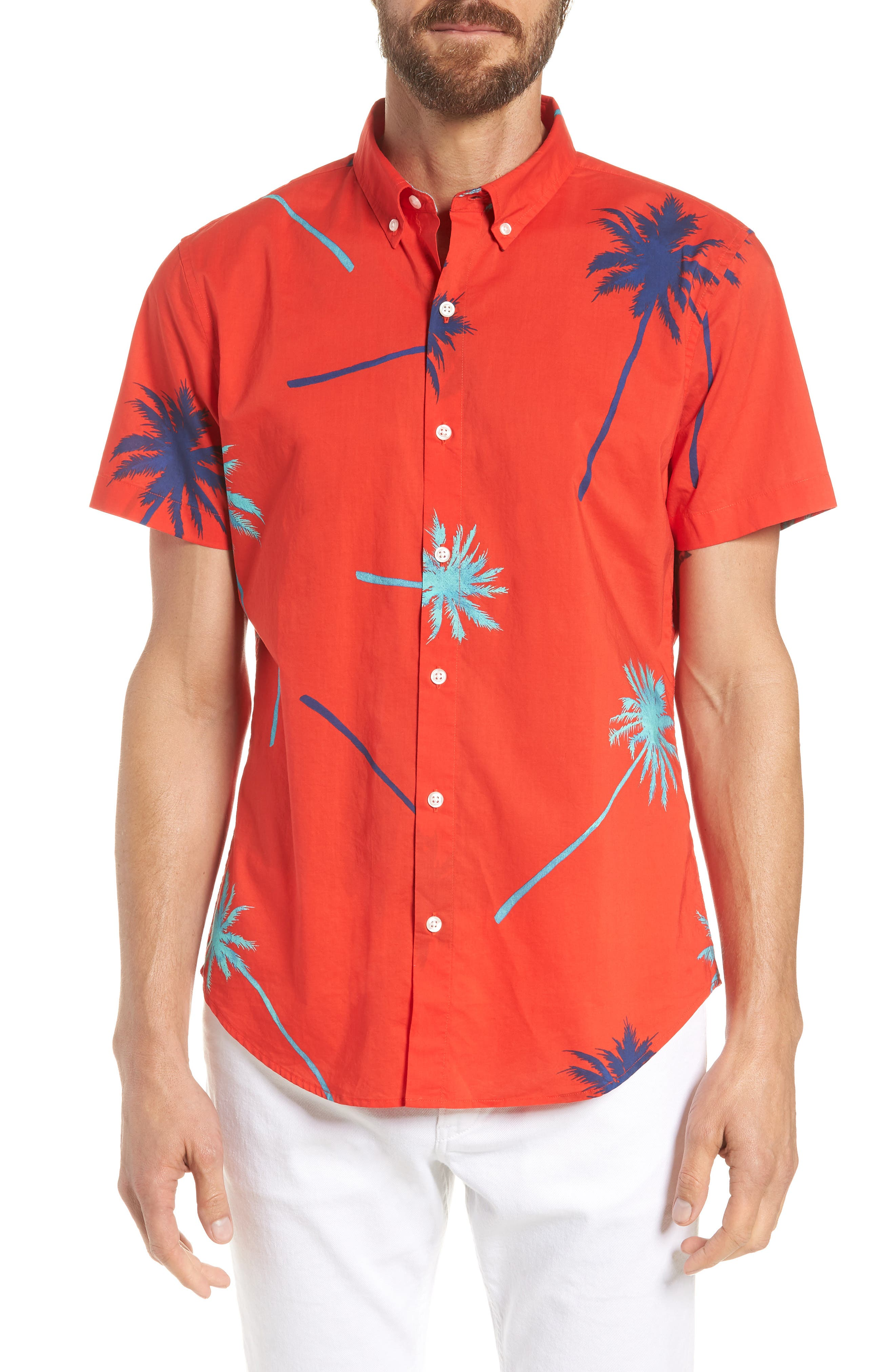 Riviera Slim Fit Palm Print Sport Shirt,                         Main,                         color, Palm Tree View - Goji Berry