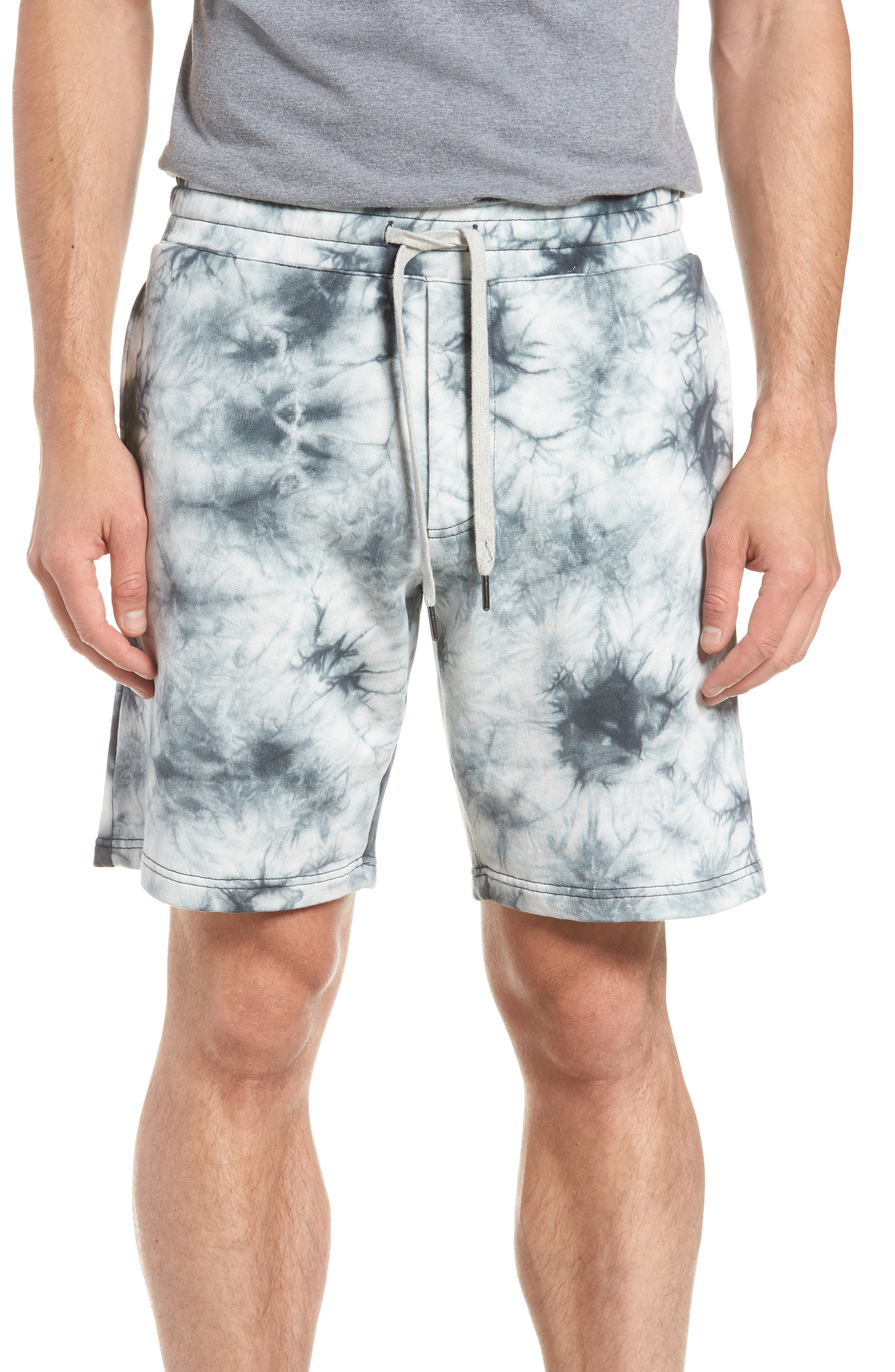 Twisted 9-Inch Cotton Shorts,                             Main thumbnail 1, color,                             Blue Tie Dye