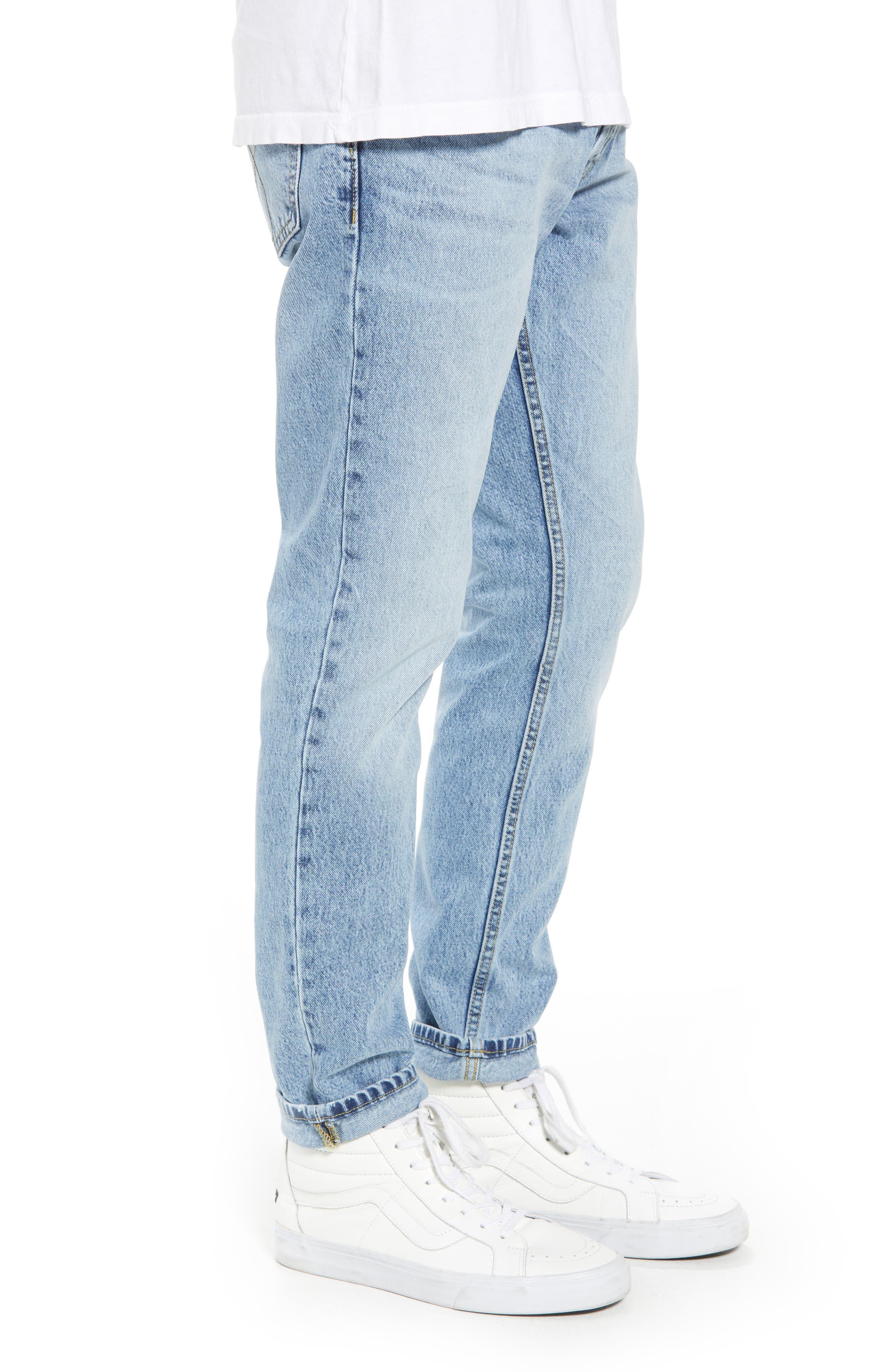 Straight Tapered Leg Jeans,                             Alternate thumbnail 3, color,                             Jalapeno Blue