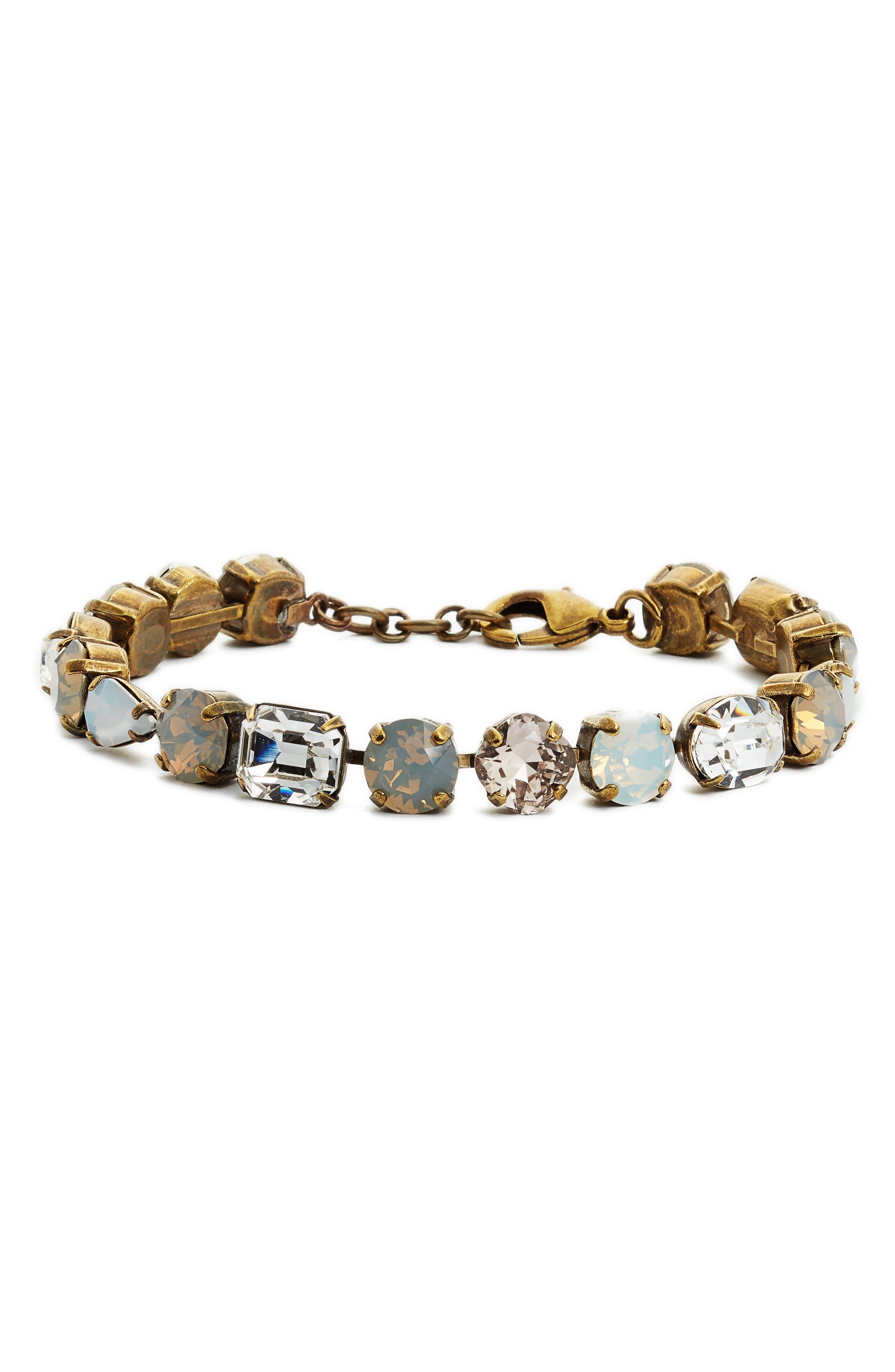Clover Crystal Bracelet,                         Main,                         color, Clear/ Gray