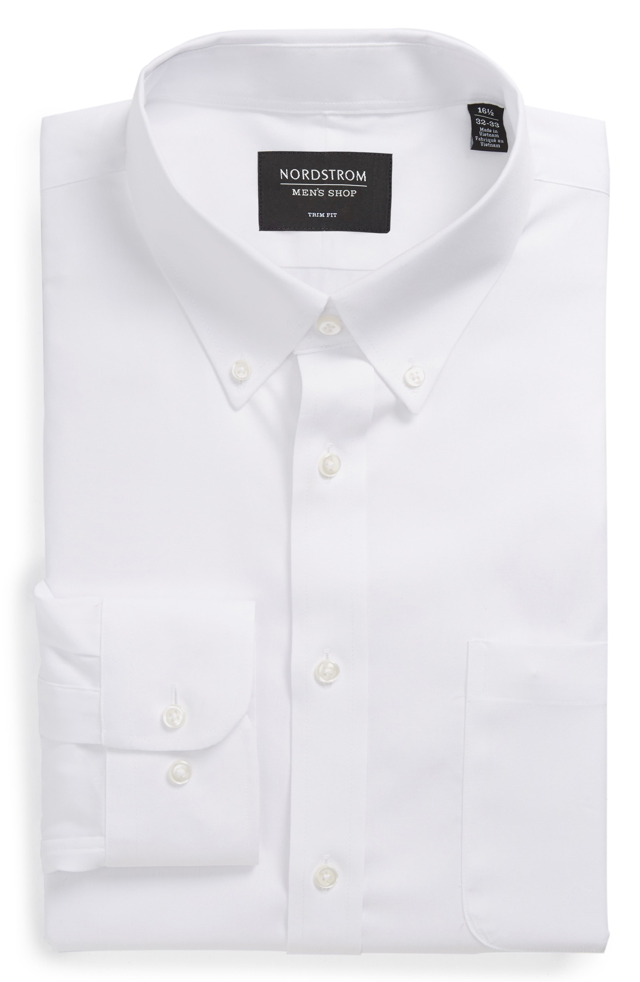 Trim Fit Non-Iron Dress Shirt,                             Alternate thumbnail 5, color,                             White