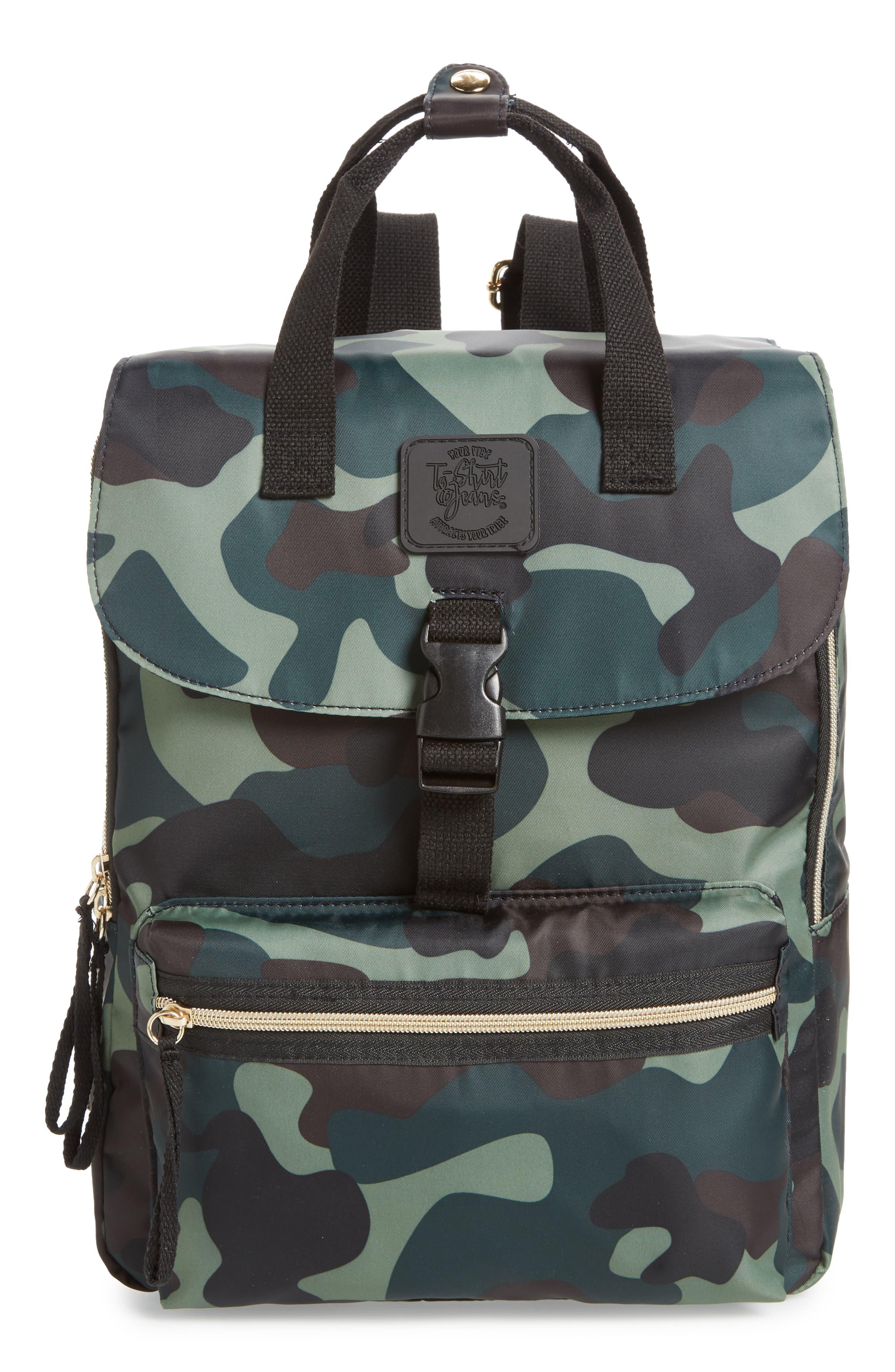Camouflage Nylon Backpack,                             Main thumbnail 1, color,                             Camo Green