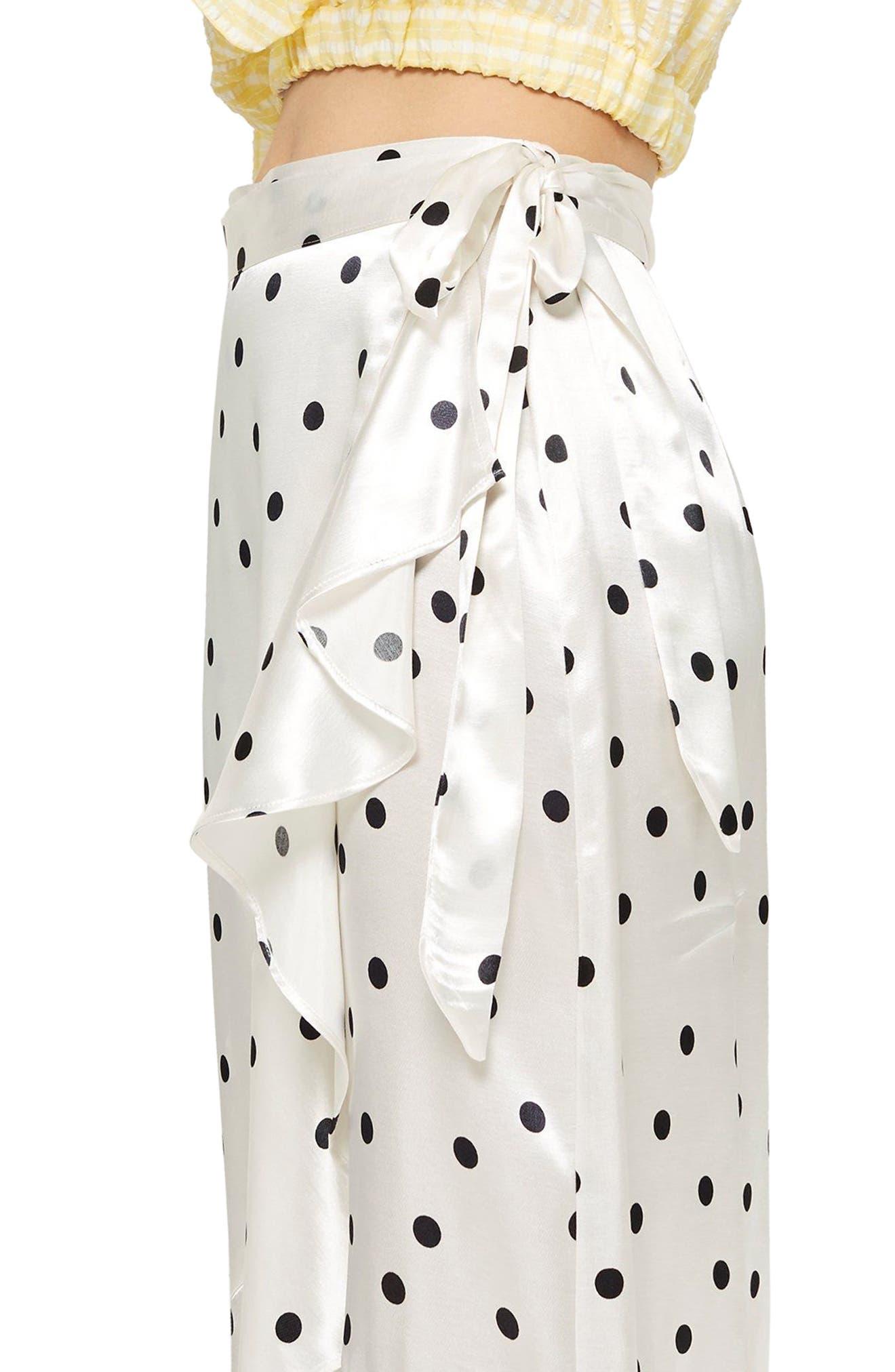 Satin Spot Ruffle Skirt,                             Alternate thumbnail 3, color,                             White Multi