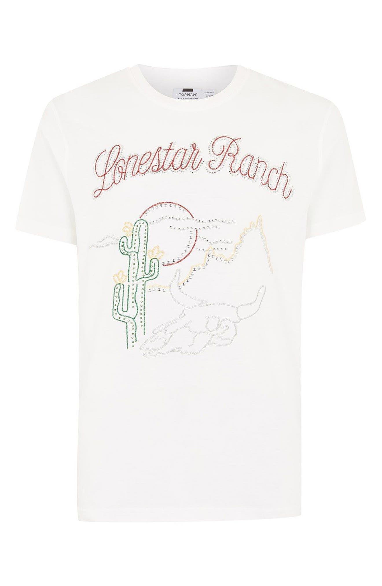 Classic Fit Lonestar Ranch Studded T-Shirt,                             Alternate thumbnail 4, color,                             Beige Multi