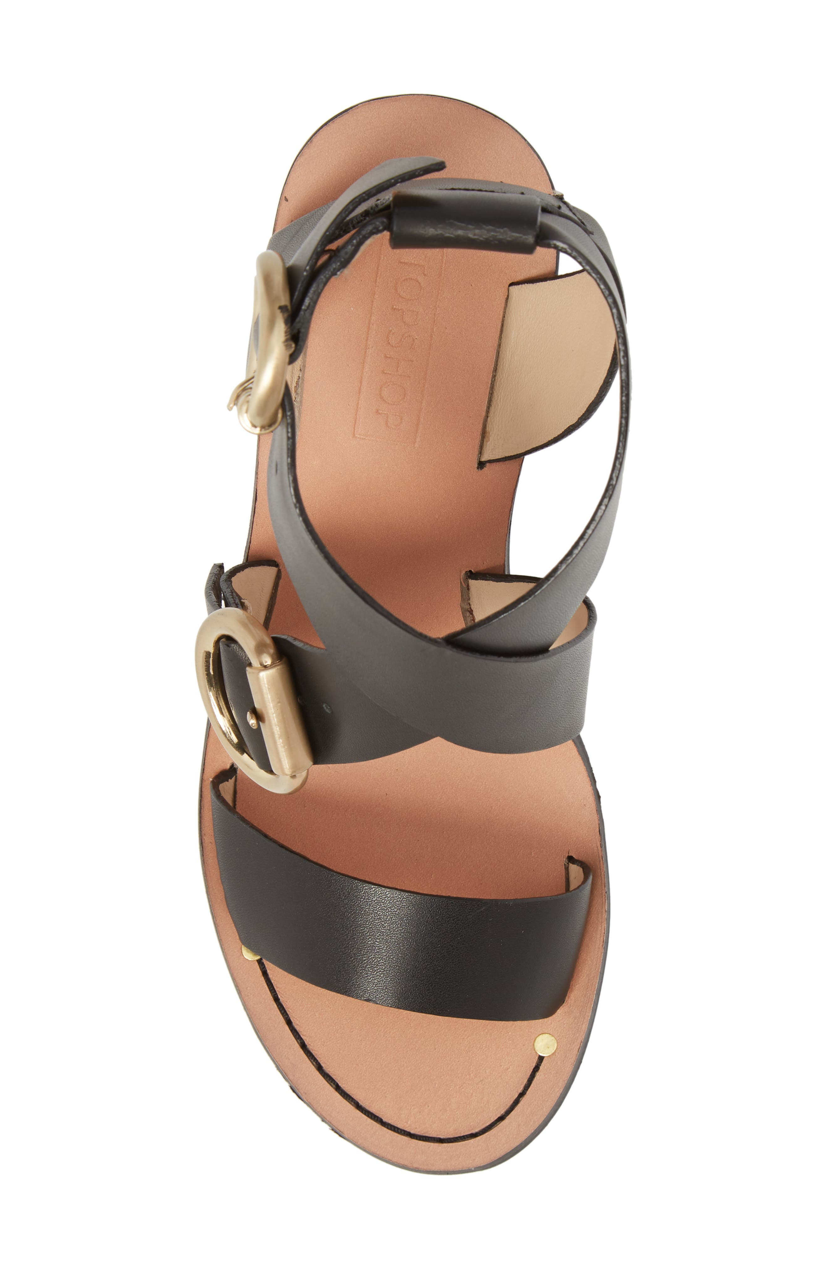 Natalie Buckled Cross Strap Sandal,                             Alternate thumbnail 5, color,                             Black Multi