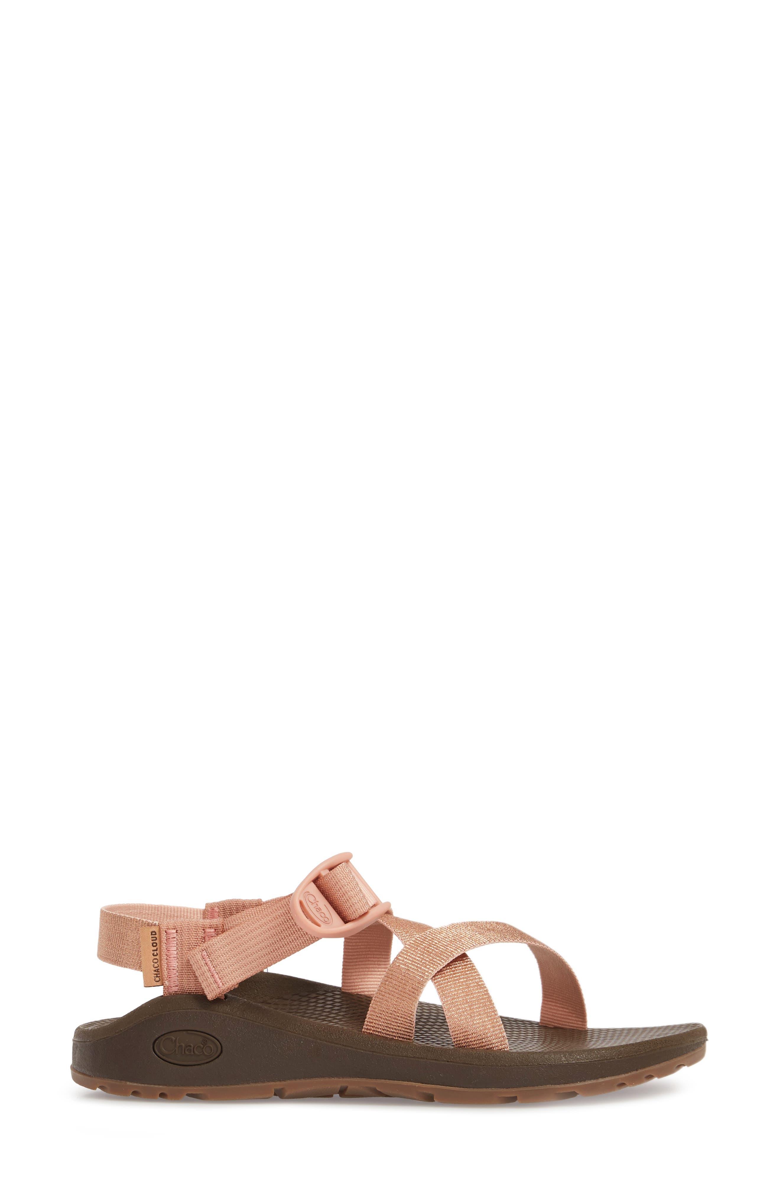 Z/Cloud Sandal,                             Alternate thumbnail 3, color,                             Metallic Rose Leather