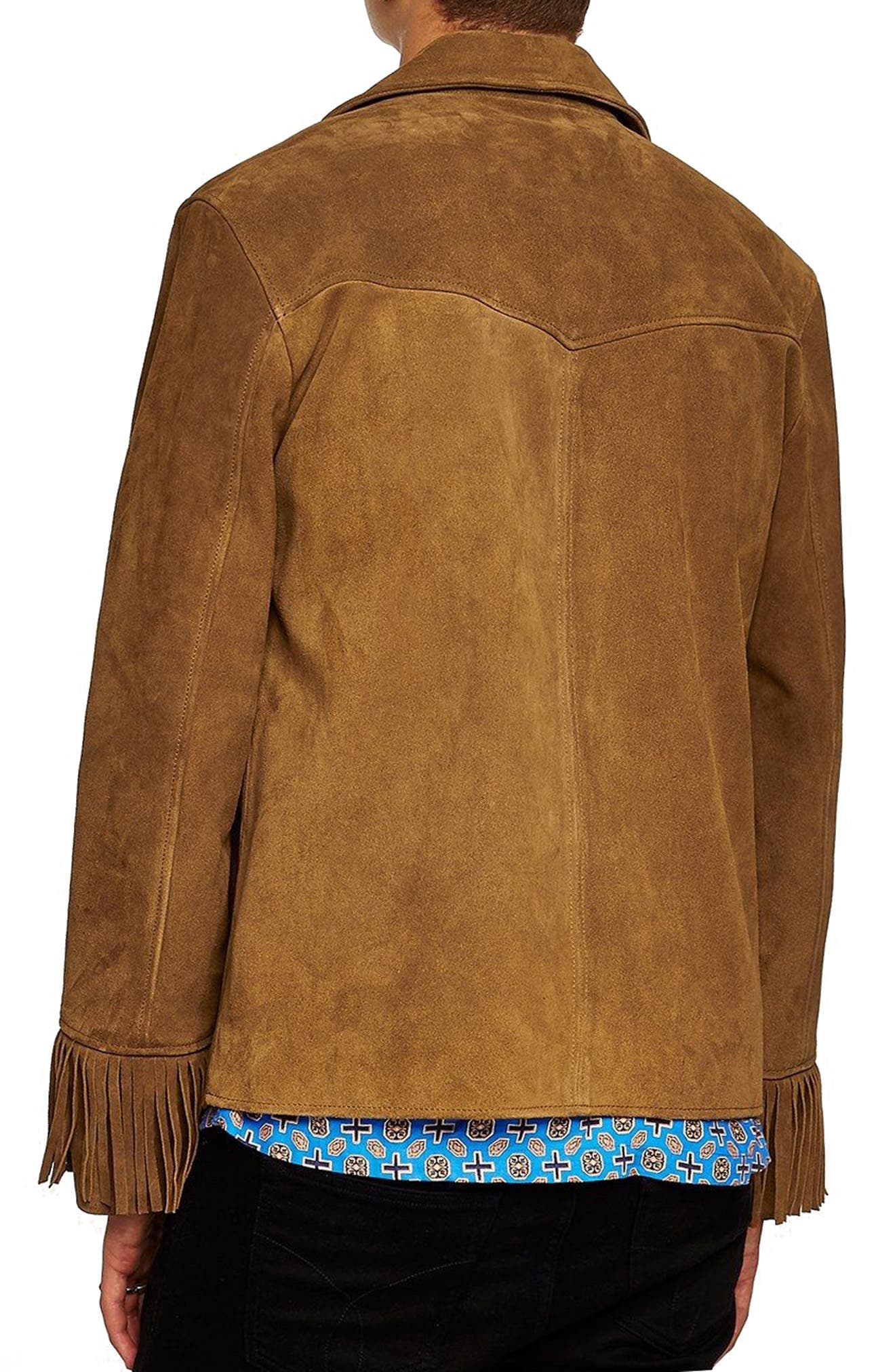 Fringed Suede Western Jacket,                             Alternate thumbnail 2, color,                             Brown