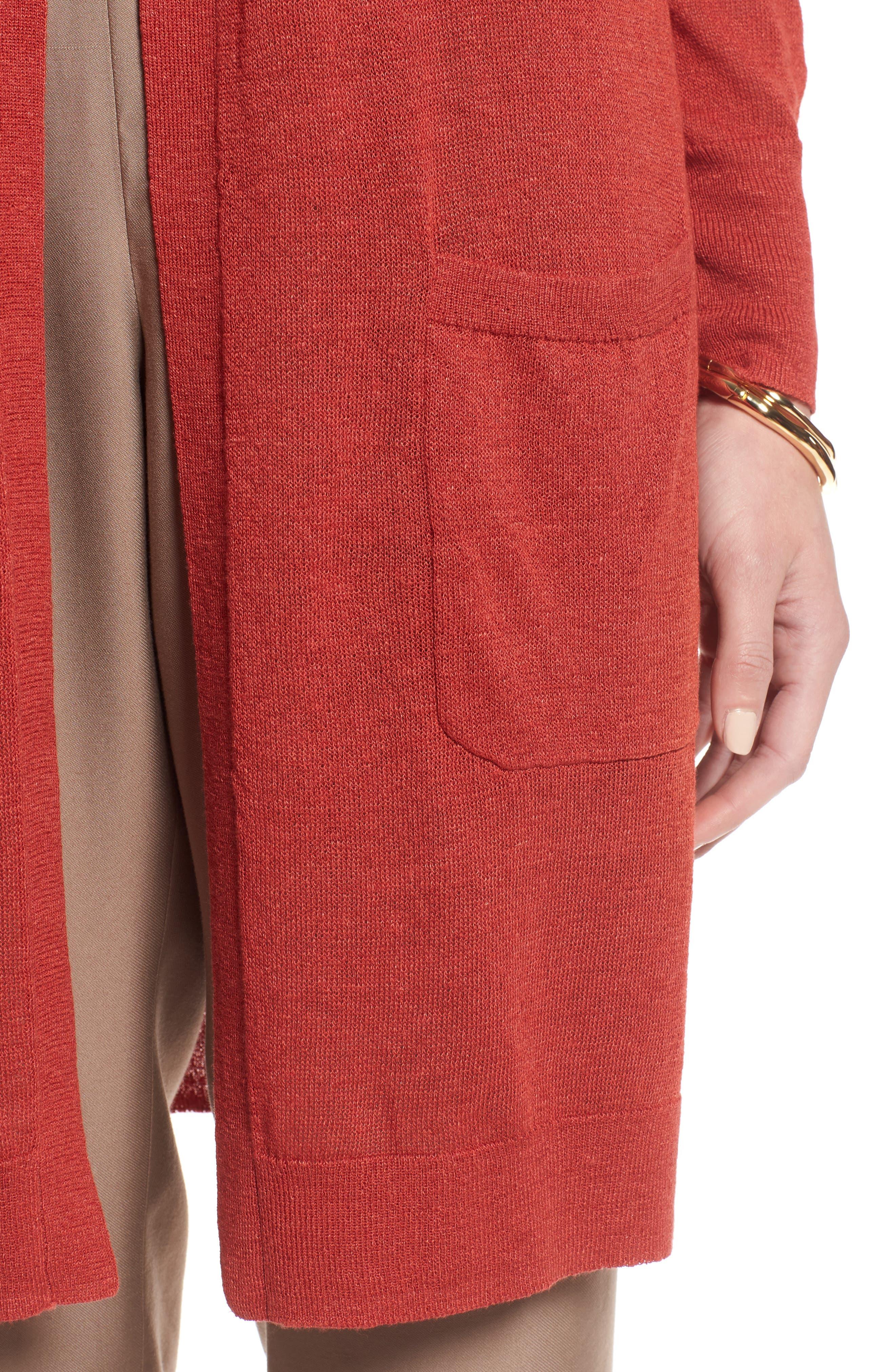 Long Linen Blend Cardigan,                             Alternate thumbnail 4, color,                             Rust Bossa Nova