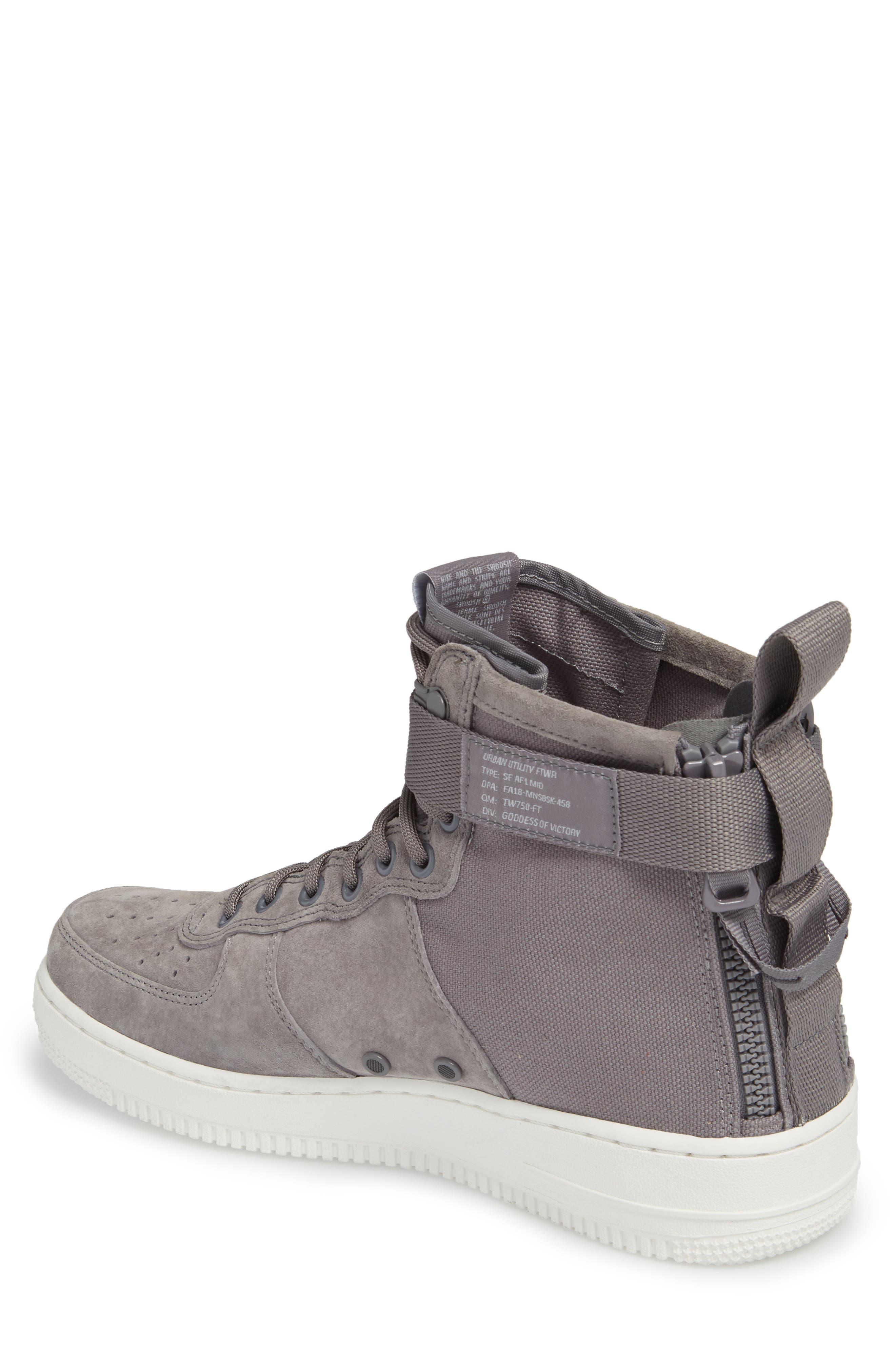 SF Air Force 1 Mid Sneaker,                             Alternate thumbnail 2, color,                             Gunsmoke/ Wolf Grey/ White