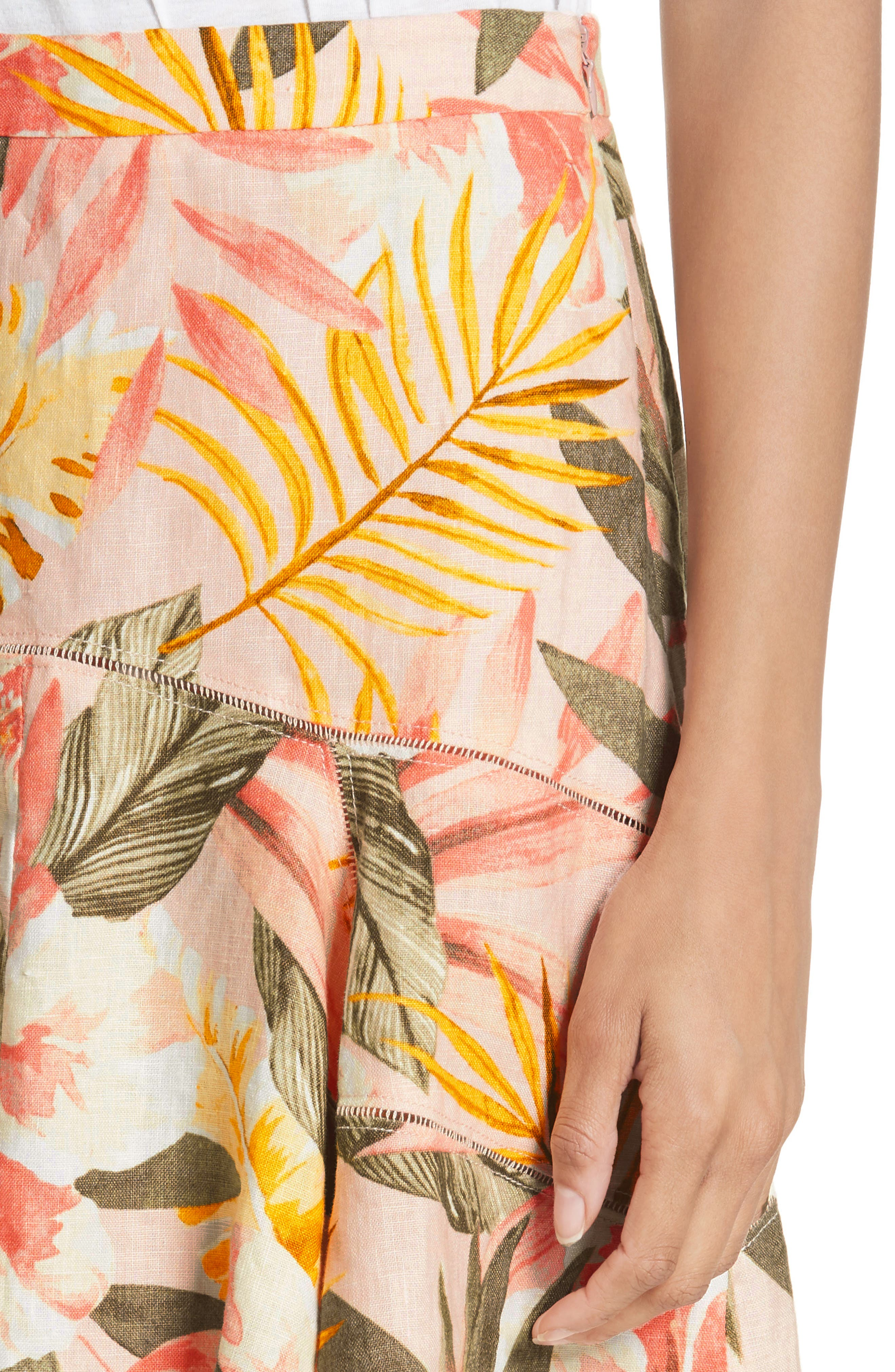Radhiya Linen Floral Ruffle Skirt,                             Alternate thumbnail 4, color,                             Dusty Nude