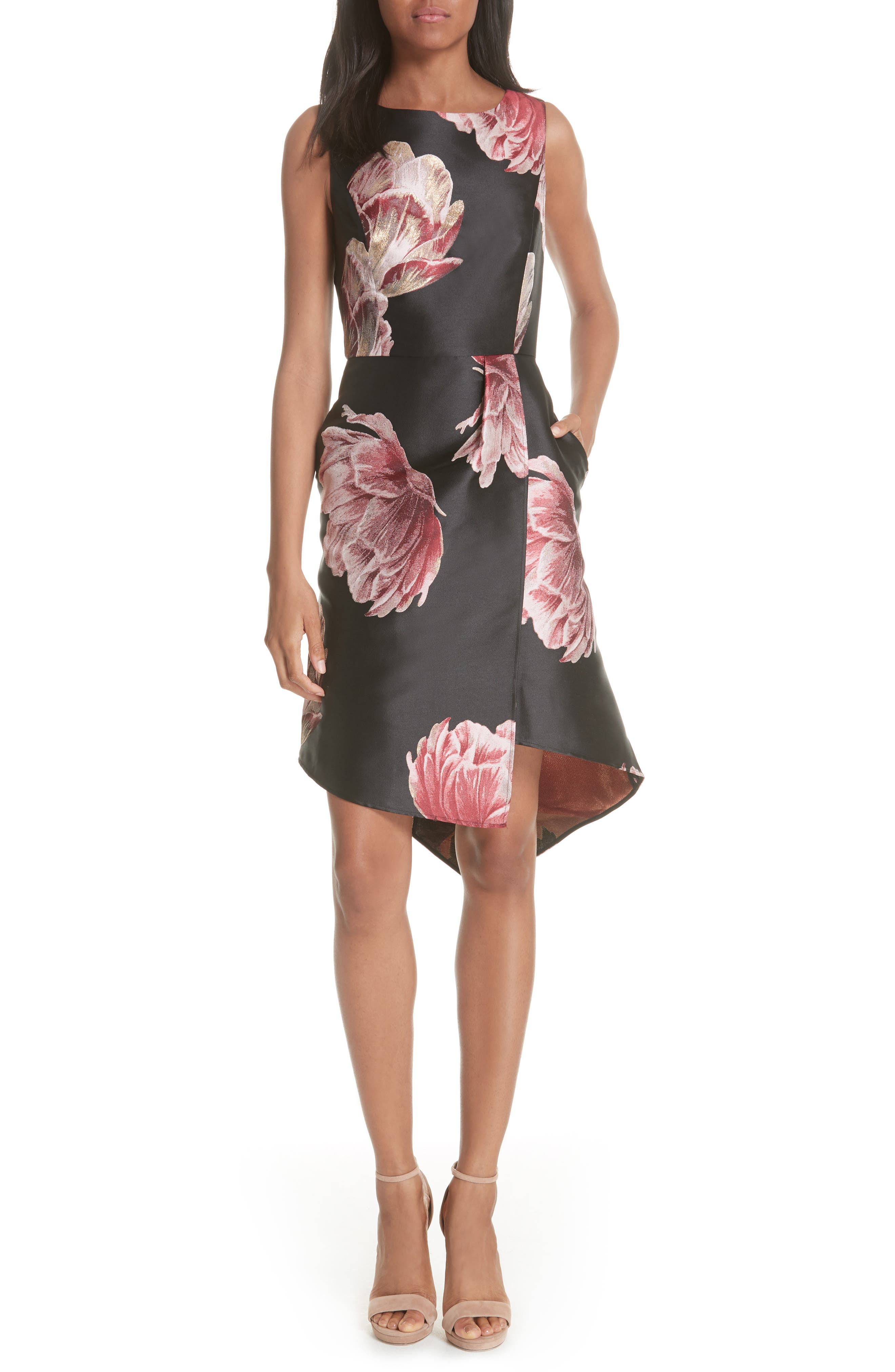 Eyvii Bay of Honour Asymmetrical Dress,                             Main thumbnail 1, color,                             Black
