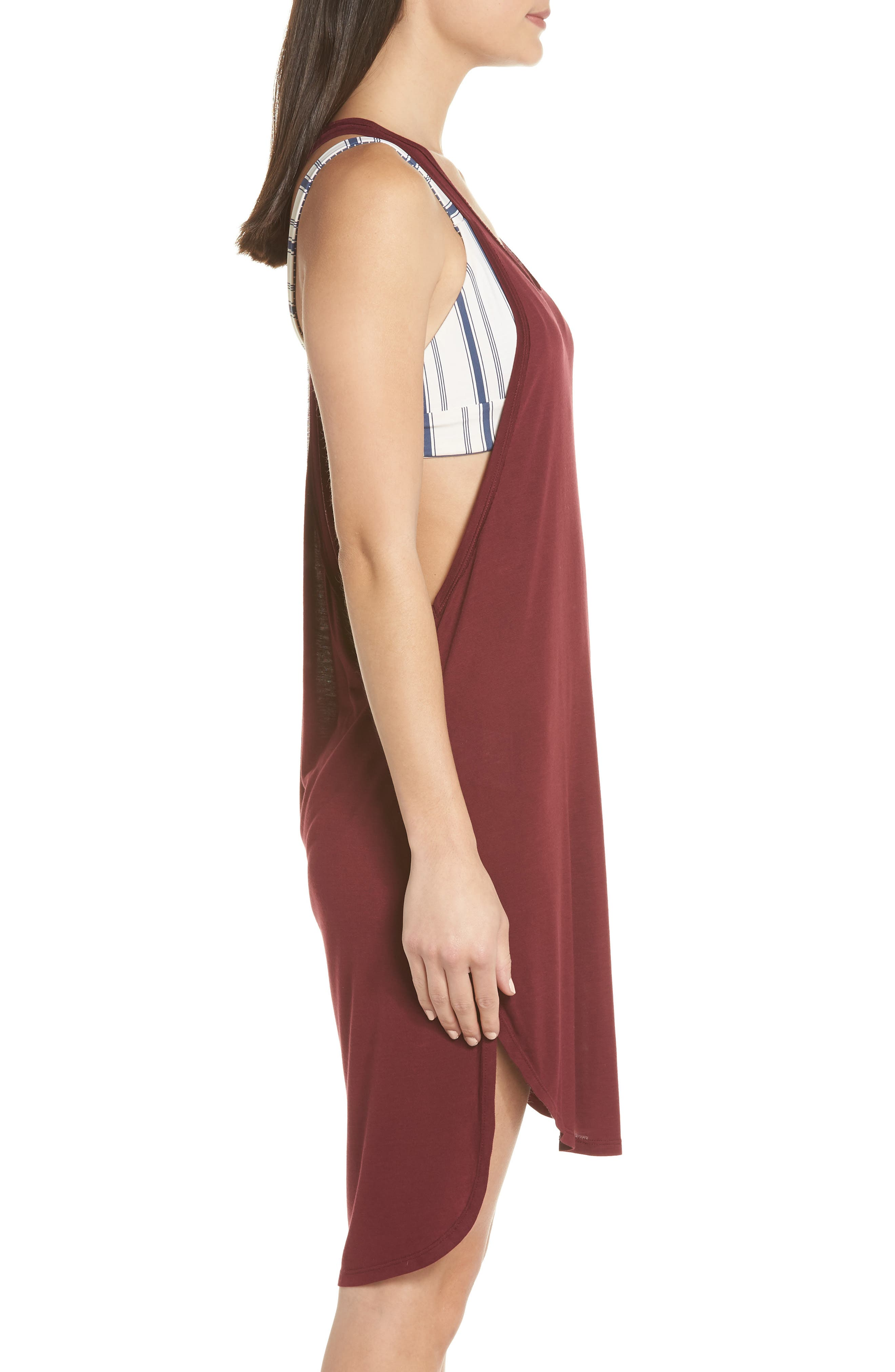 Racerback Cover-Up Tank Dress,                             Alternate thumbnail 3, color,                             Burgundy Field
