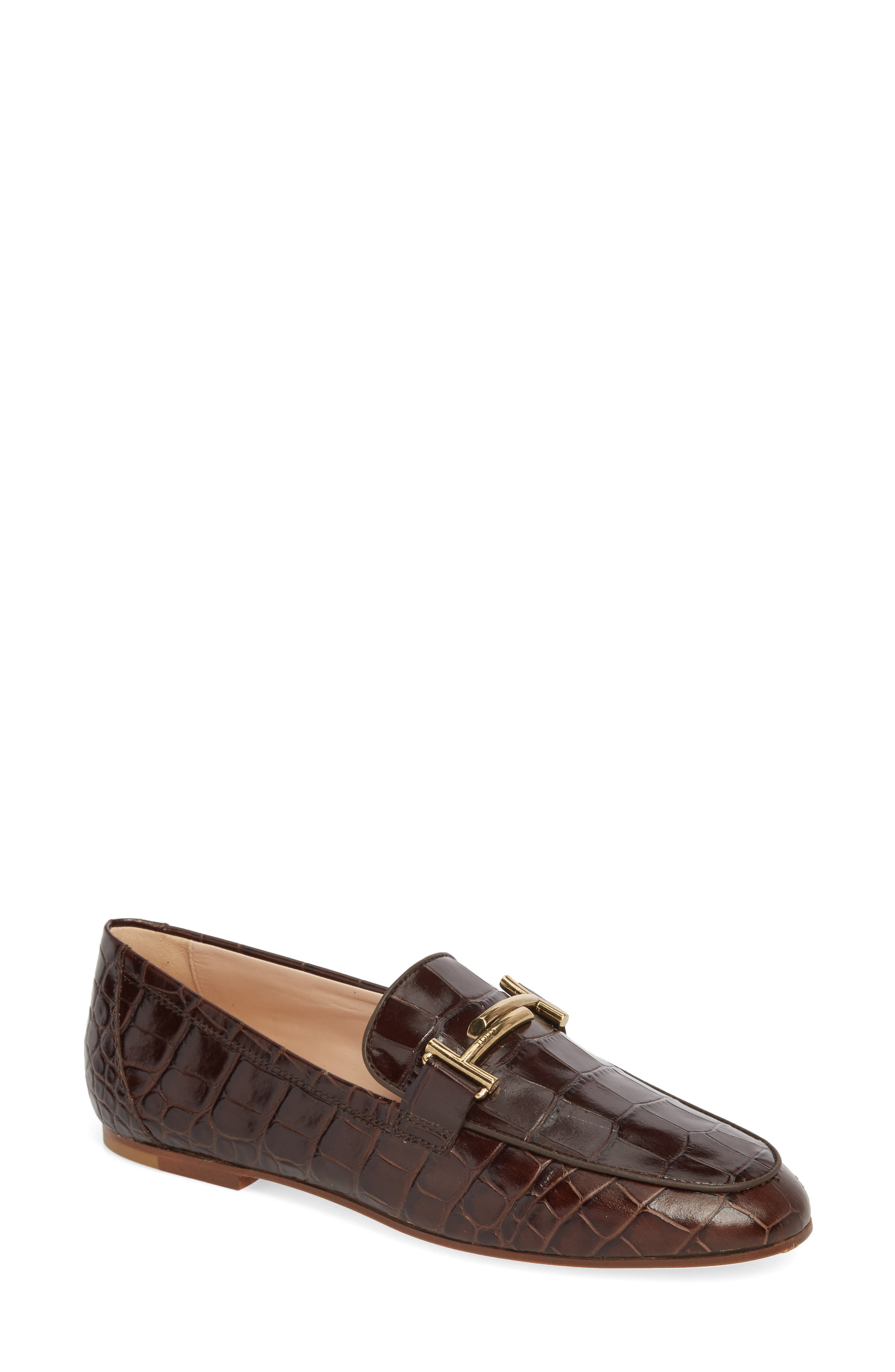 Double-T Printed Loafer in Brown