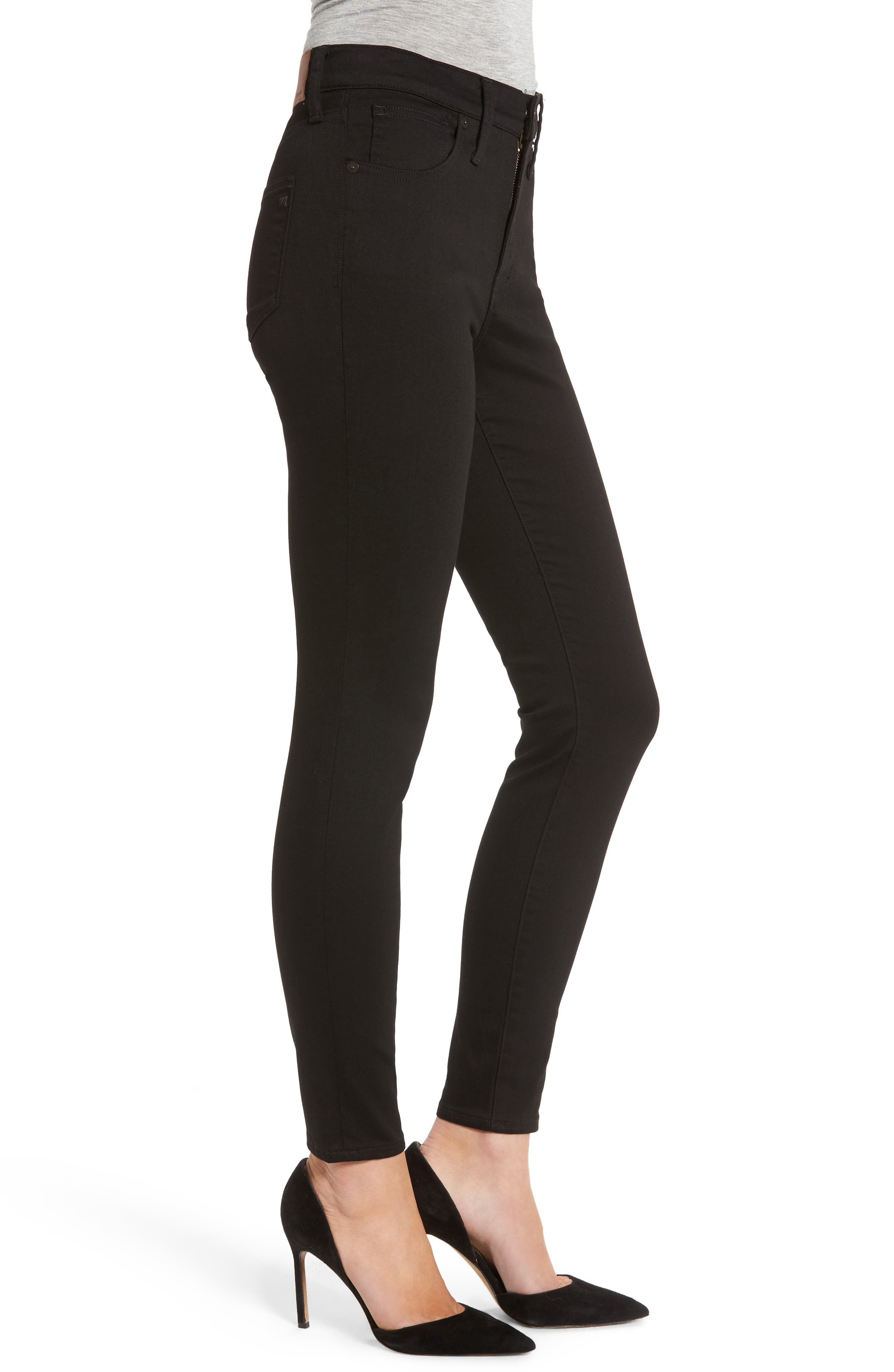 9-Inch High Waist Skinny Jeans,                             Alternate thumbnail 3, color,                             Black Frost