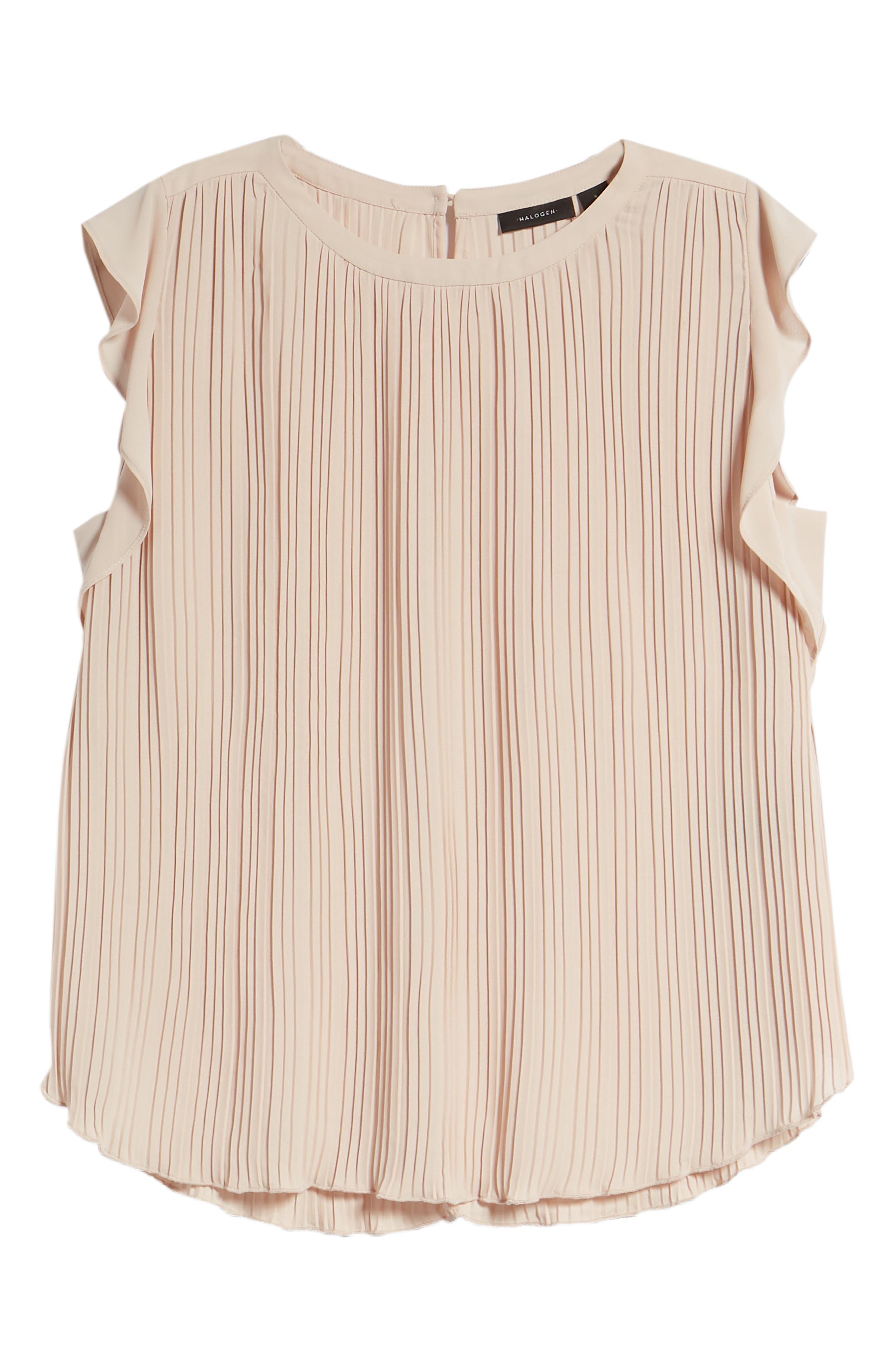 Mini Pleat Ruffle Sleeve Blouse,                             Alternate thumbnail 6, color,                             Tan