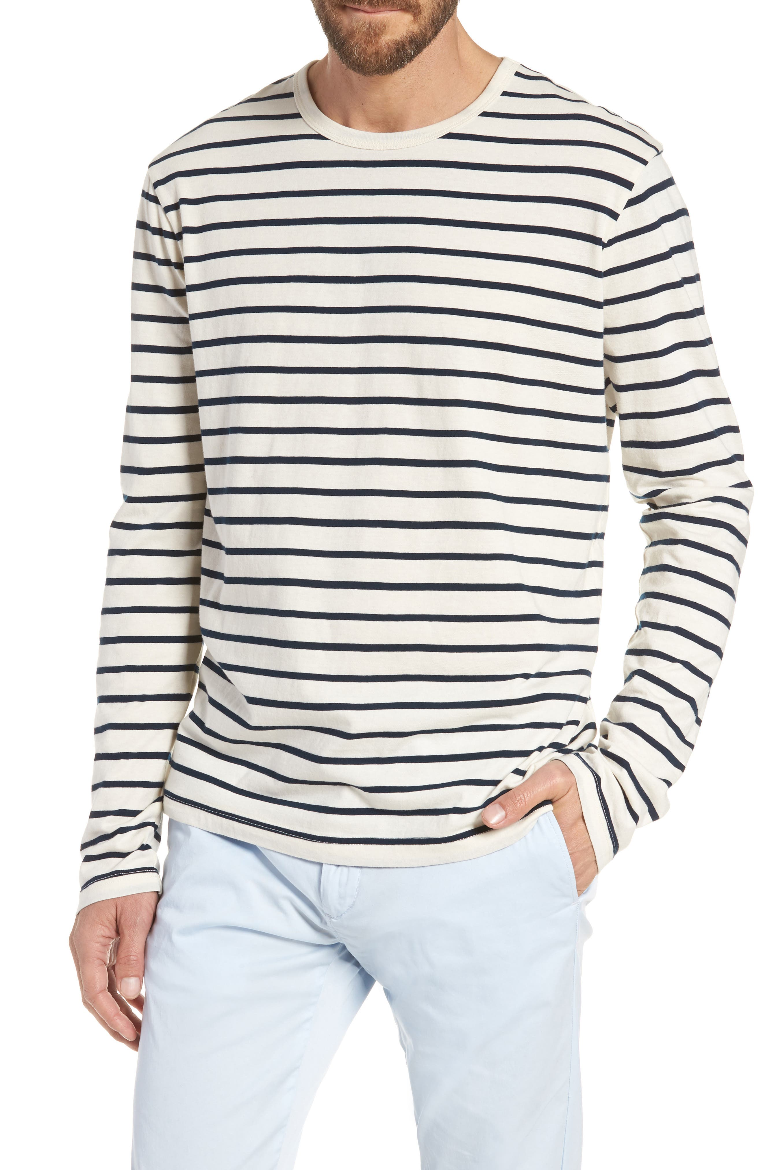 Mercantile Stripe Long Sleeve T-Shirt,                             Main thumbnail 1, color,                             Mountain White