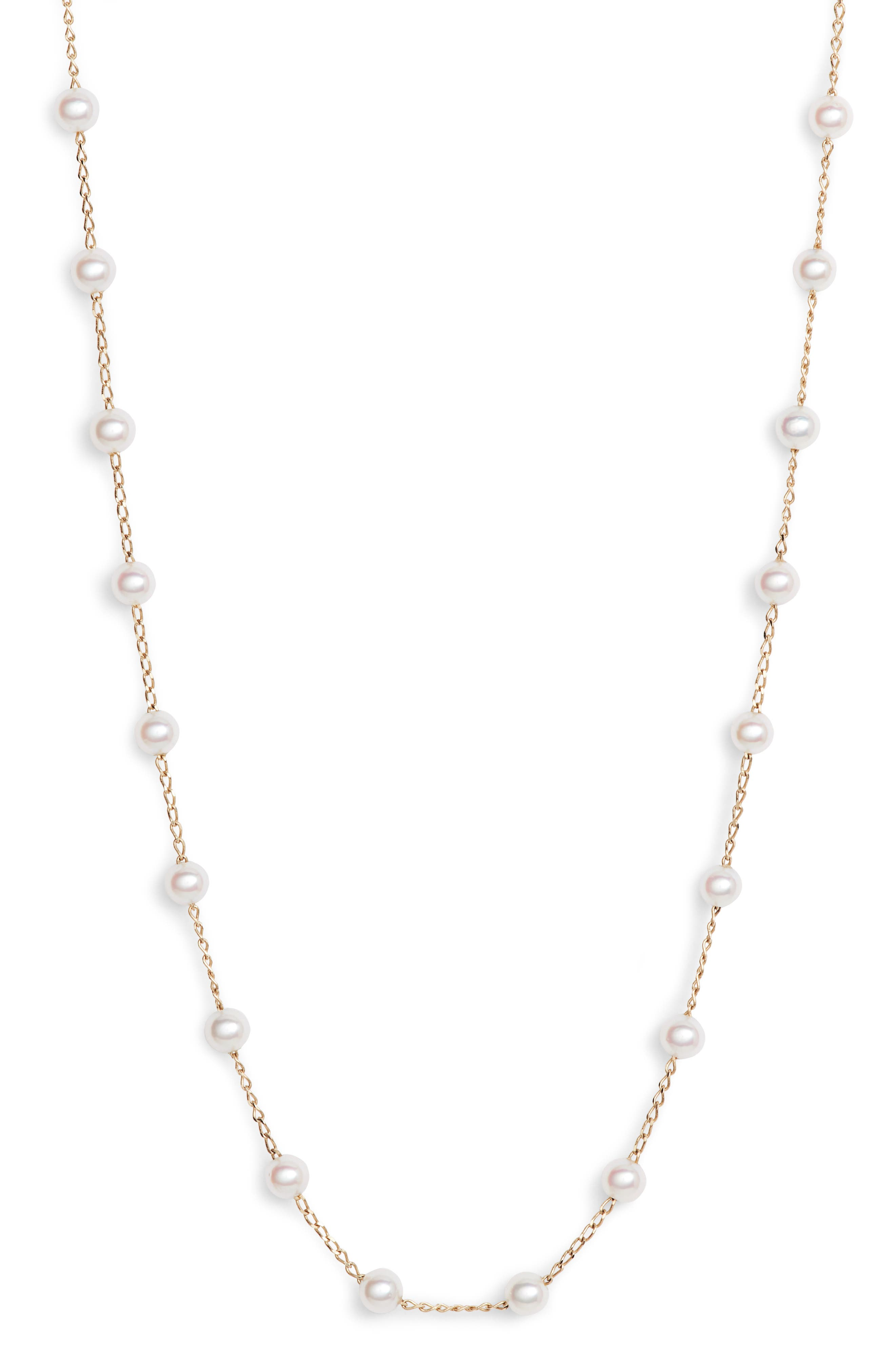 Pearl Choker Necklace,                             Alternate thumbnail 3, color,                             Yellow Gold/ Pearl