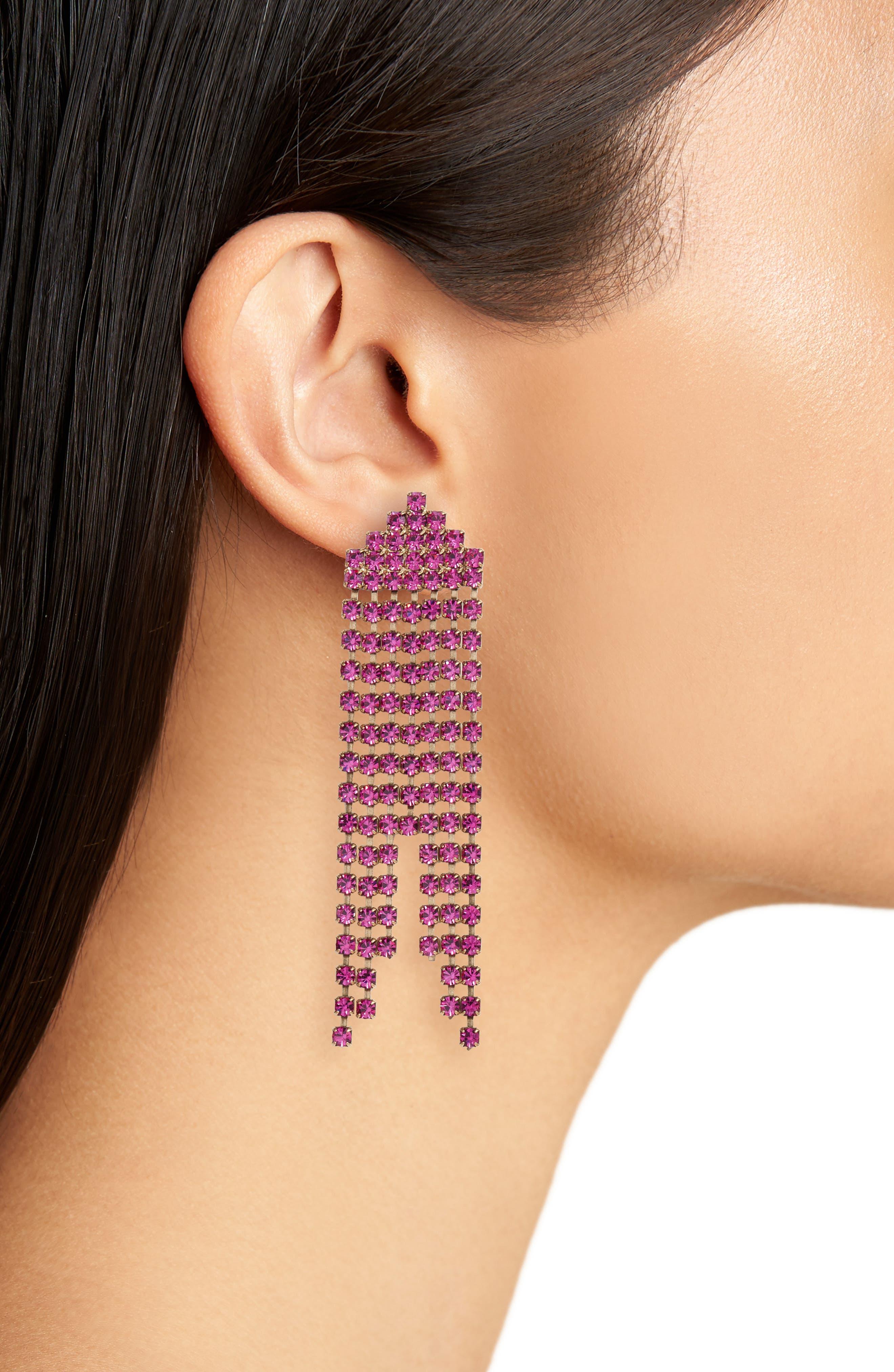 Marissa Drop Earrings,                             Alternate thumbnail 2, color,                             Violet
