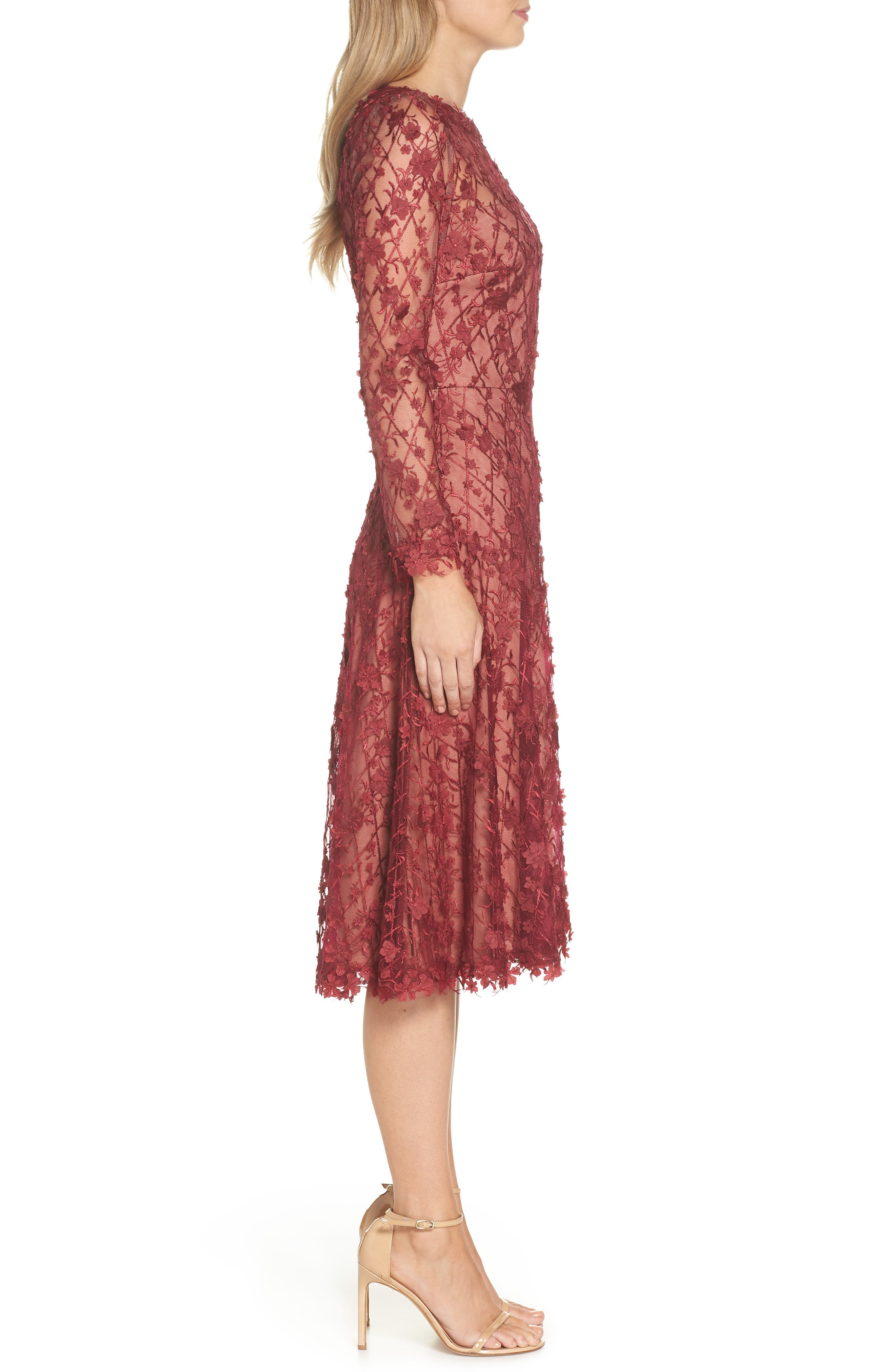 3D Flowers Lace Dress,                             Alternate thumbnail 3, color,                             Rosewood/ Nude