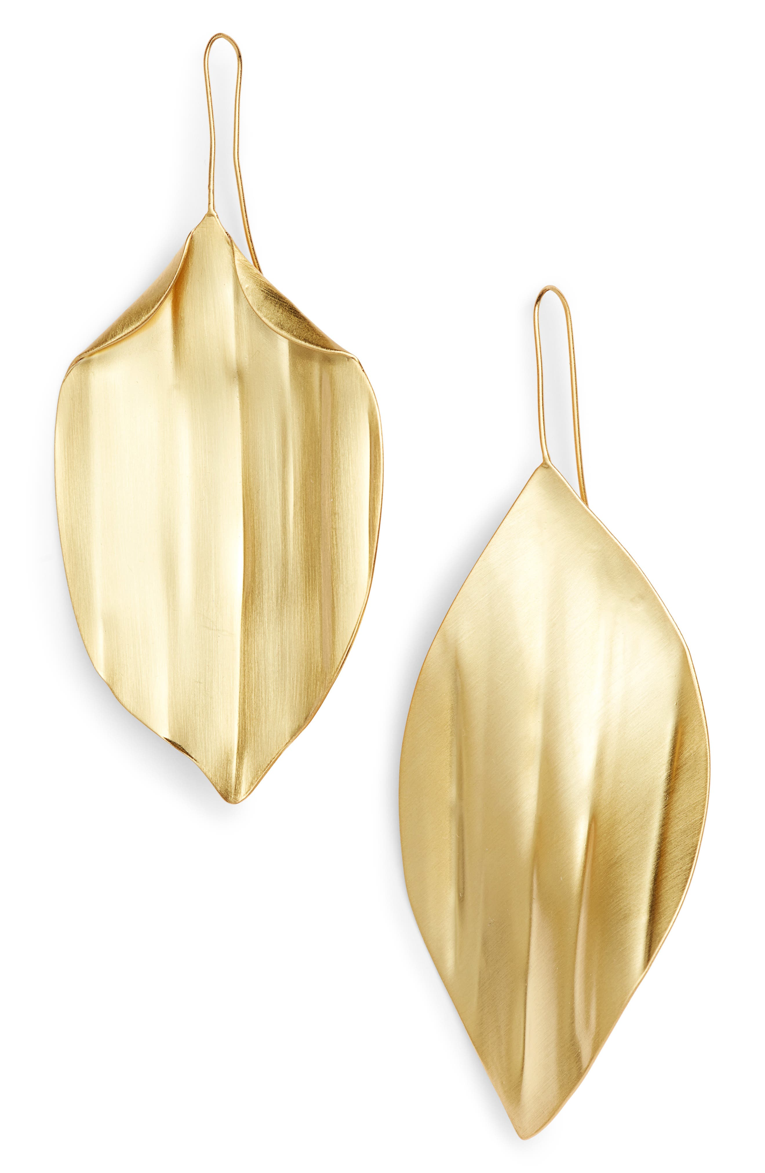 Mismatched Leaf Earrings,                             Main thumbnail 1, color,                             Shiny Brass