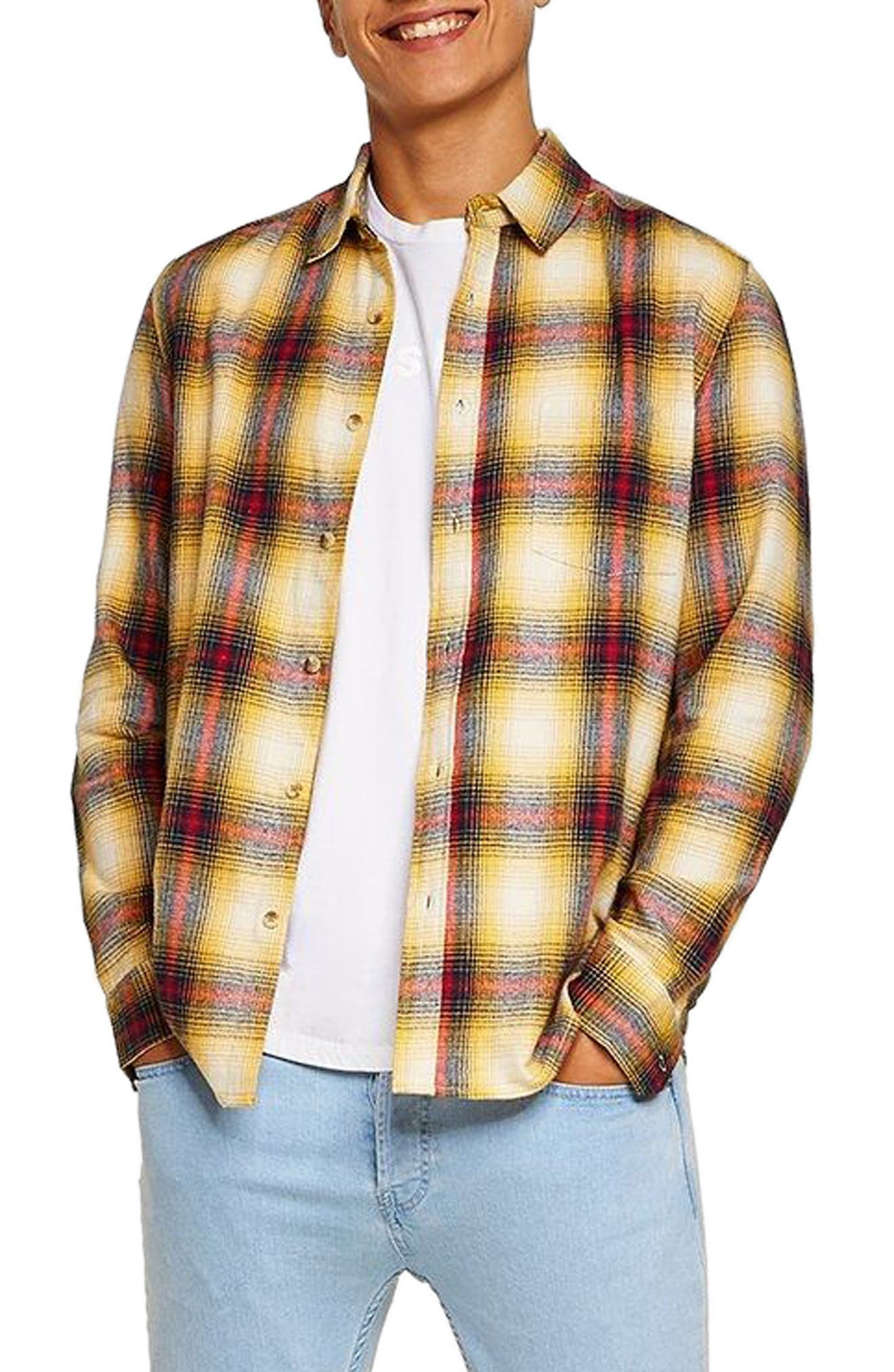 Check Flannel Shirt,                             Main thumbnail 1, color,                             Yellow Multi