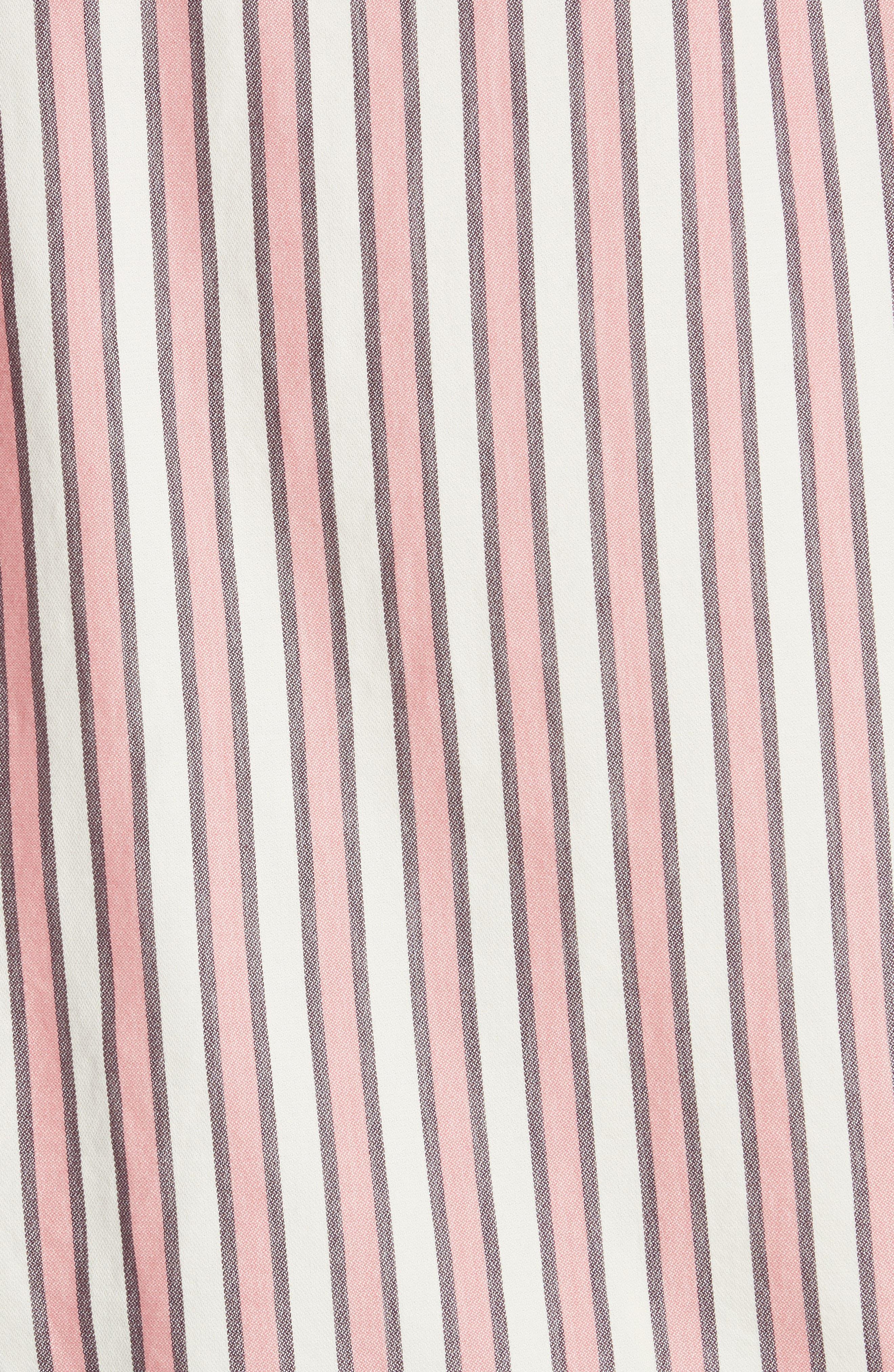 Flutter Sleeve Stripe Shirt,                             Alternate thumbnail 6, color,                             Pink Taffy Stripe