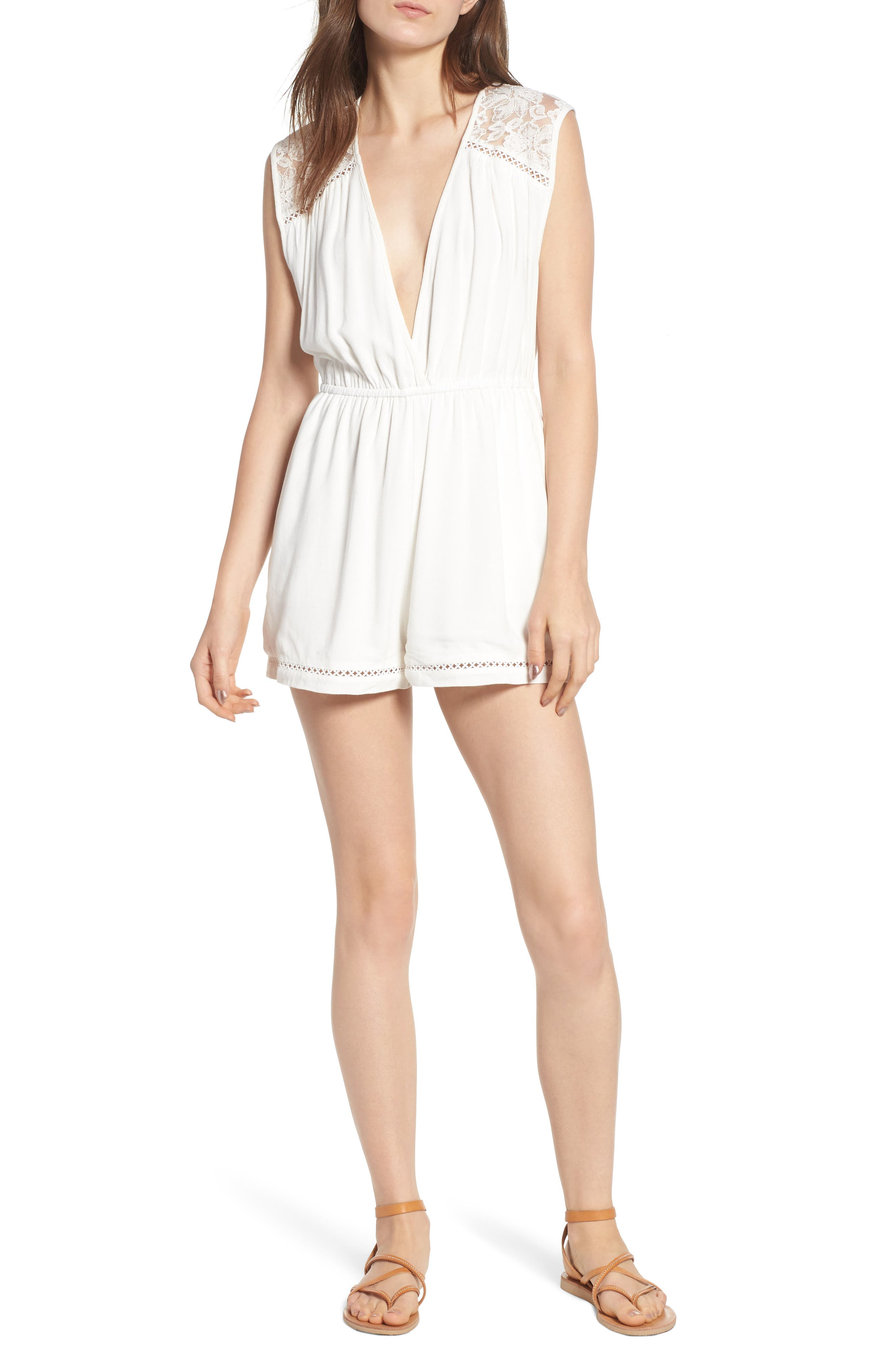 Oceans Away Lace Panel Romper,                             Main thumbnail 1, color,                             White