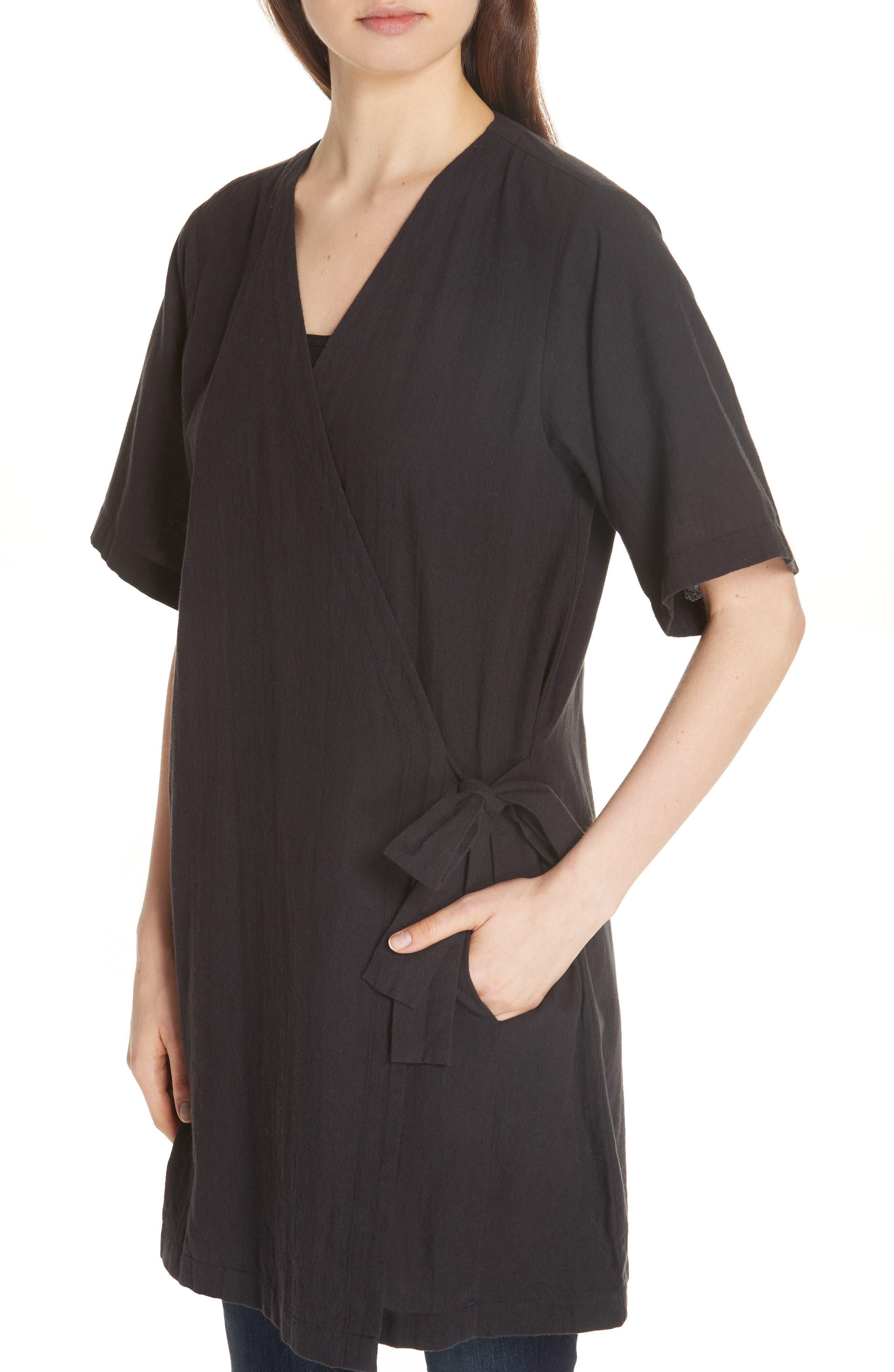 Kimono Sleeve Organic Cotton Blend Jacket,                             Alternate thumbnail 4, color,                             Black