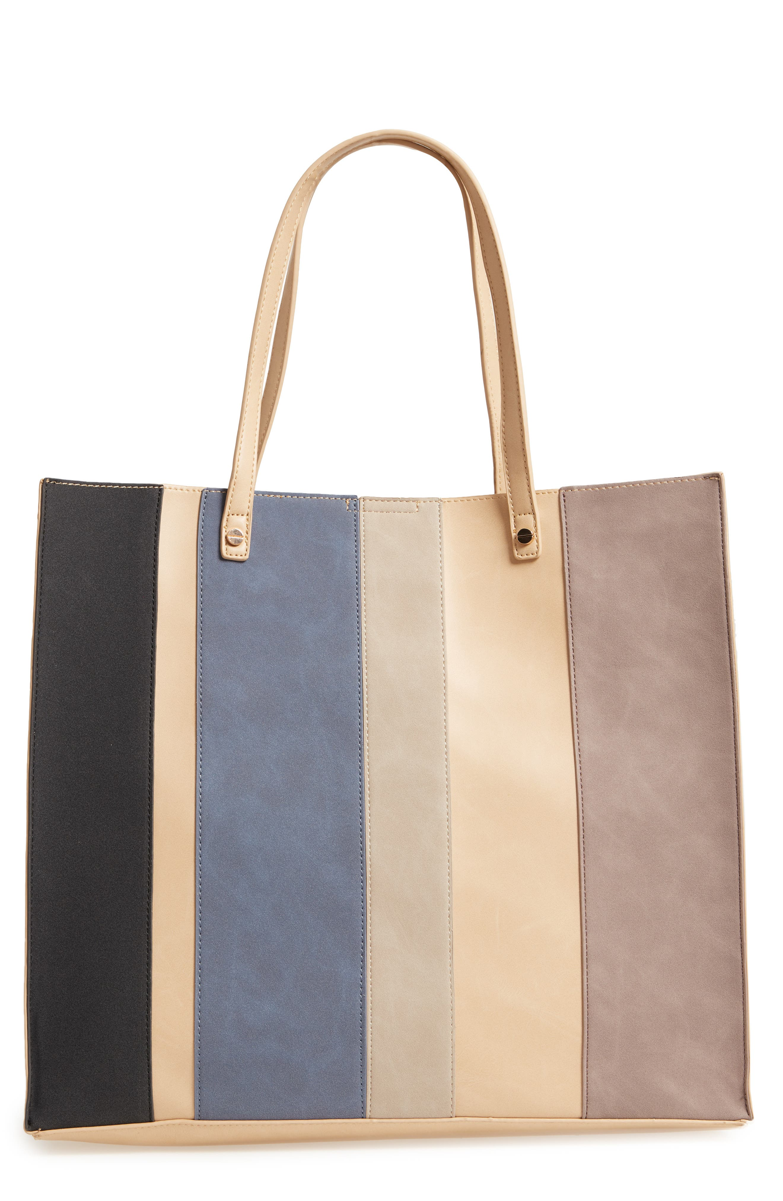 Adeline Stripe Faux Leather Tote,                         Main,                         color, Sand