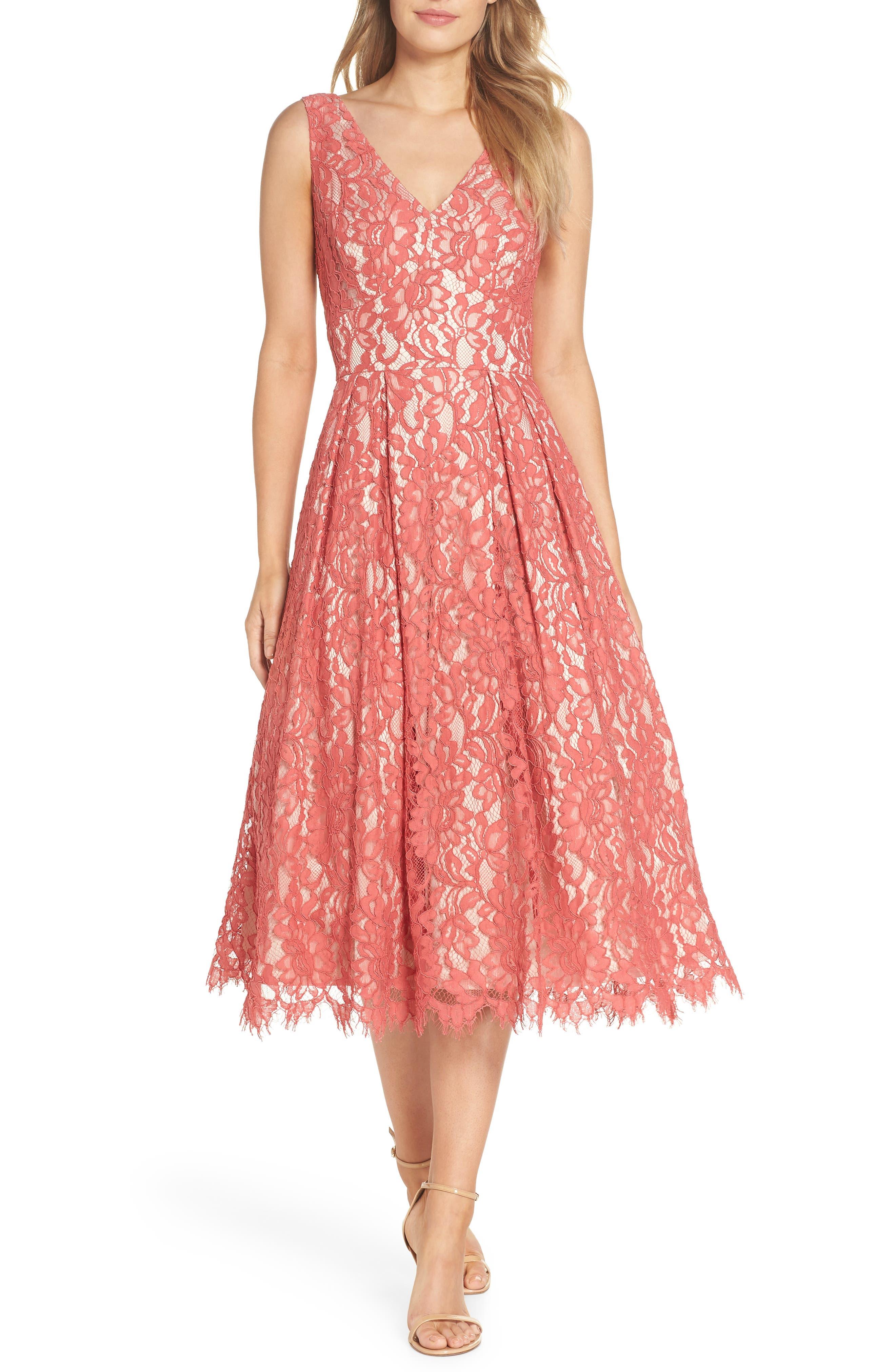 V-Neck Lace Midi Dress,                         Main,                         color, Rose