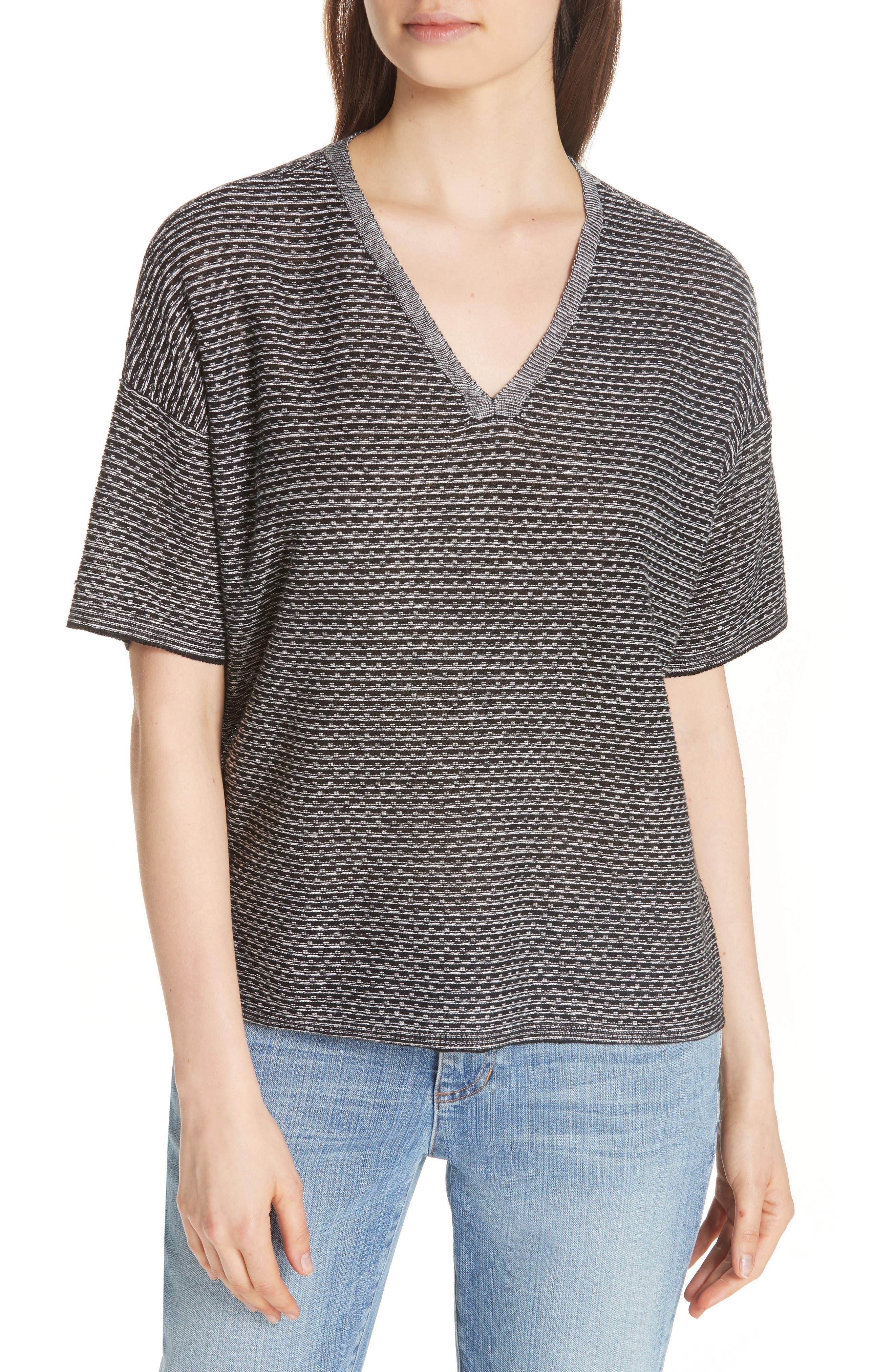 Organic Linen Jacquard Sweater,                             Main thumbnail 1, color,                             Black/ Soft White