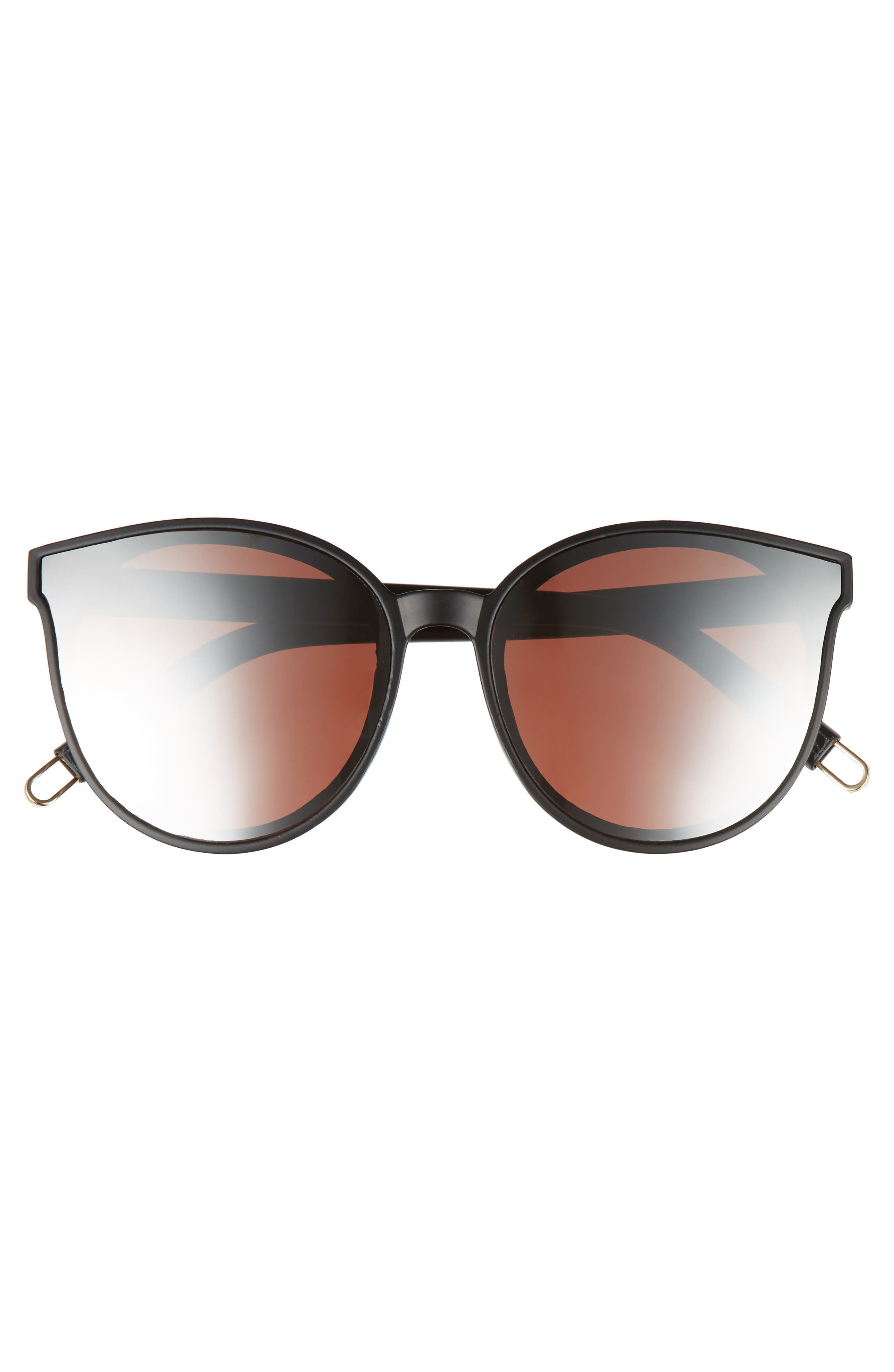 59mm Metal Tip Round Sunglasses,                             Alternate thumbnail 3, color,                             Black/ Rose Gold