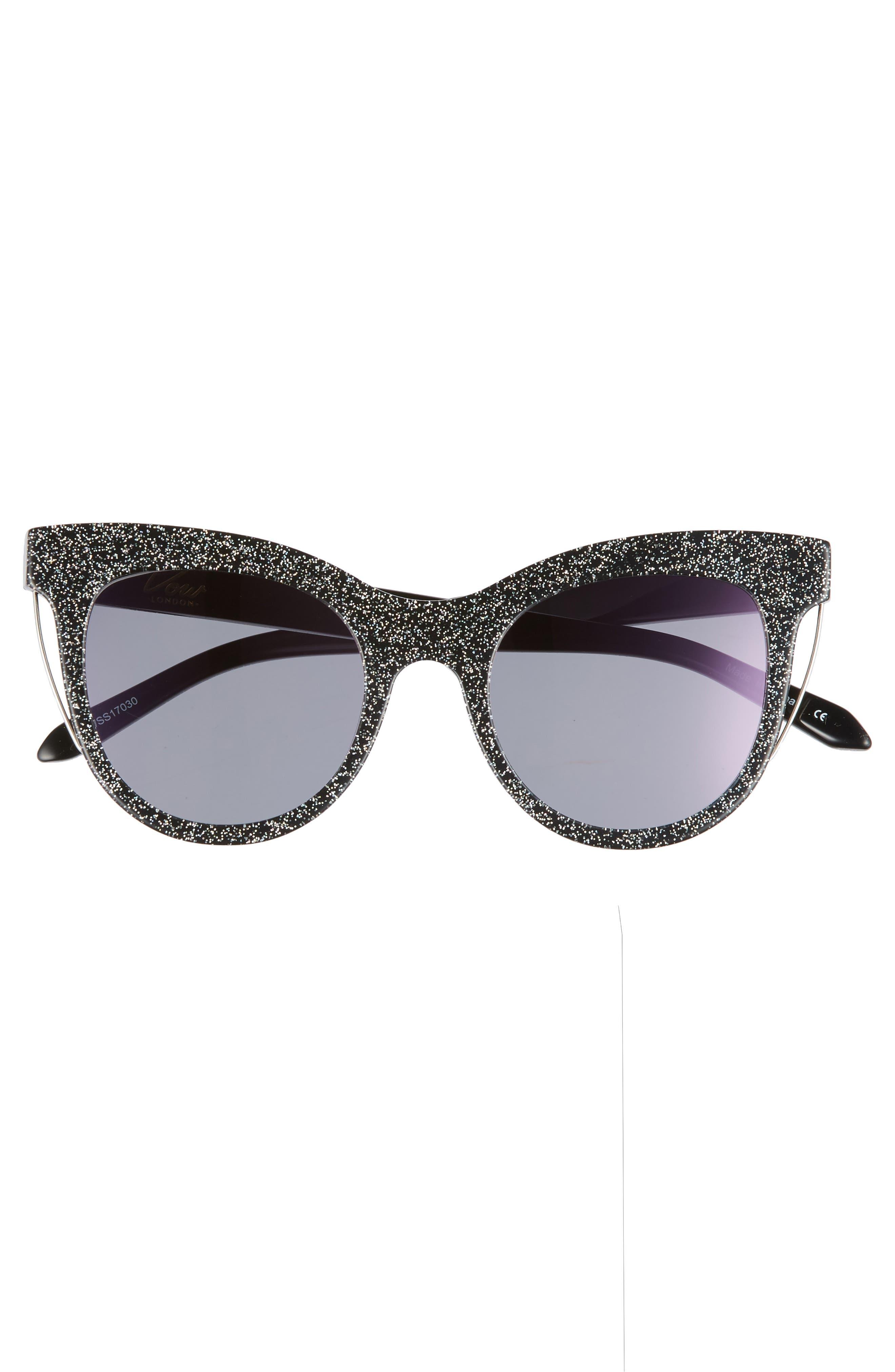 Sloane 52mm Cat Eye Sunglasses,                             Alternate thumbnail 3, color,                             Multi Glitter/ Purple Flash
