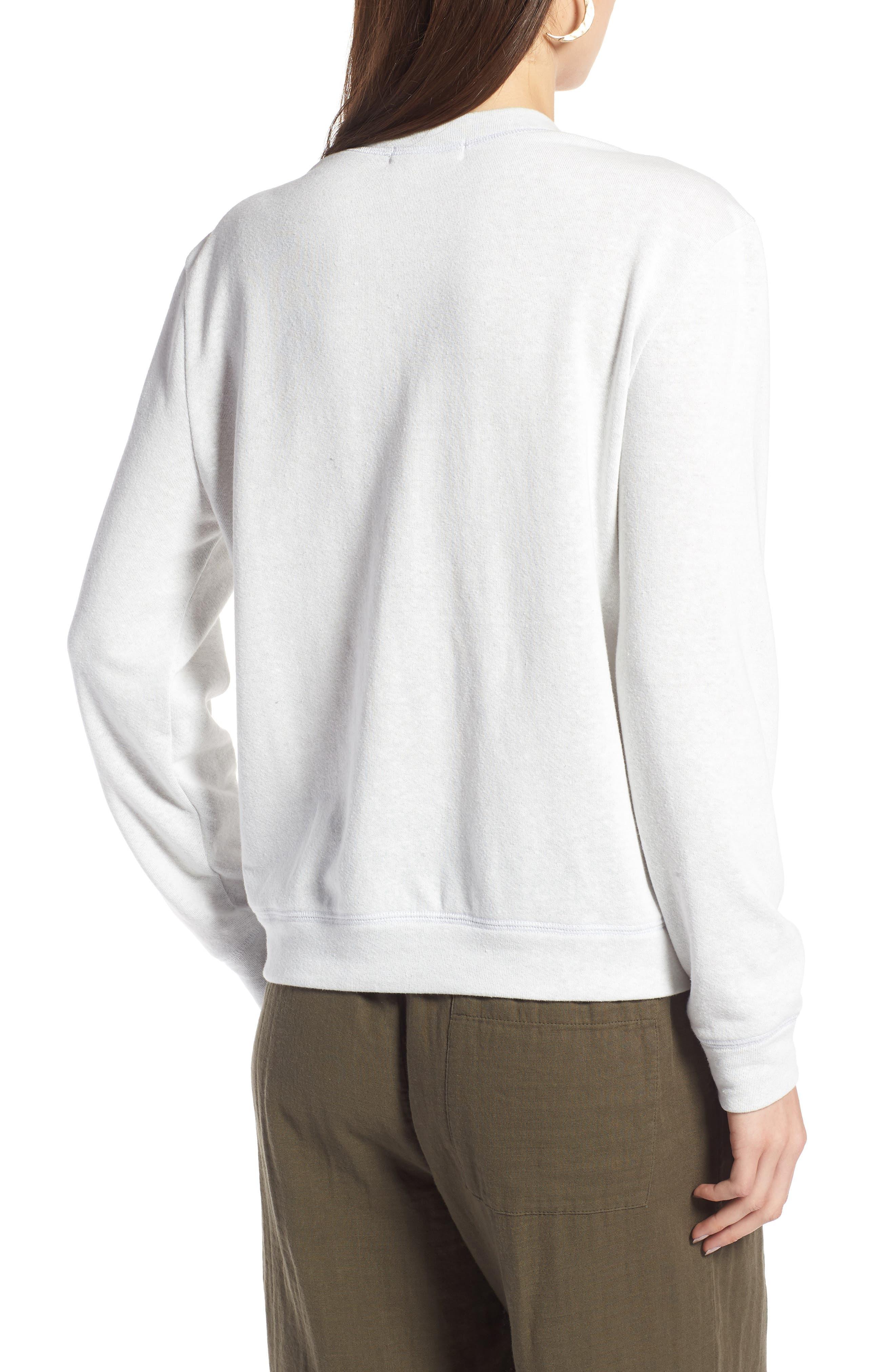 Split Neck Graphic Sweatshirt,                             Alternate thumbnail 2, color,                             White Salamanders