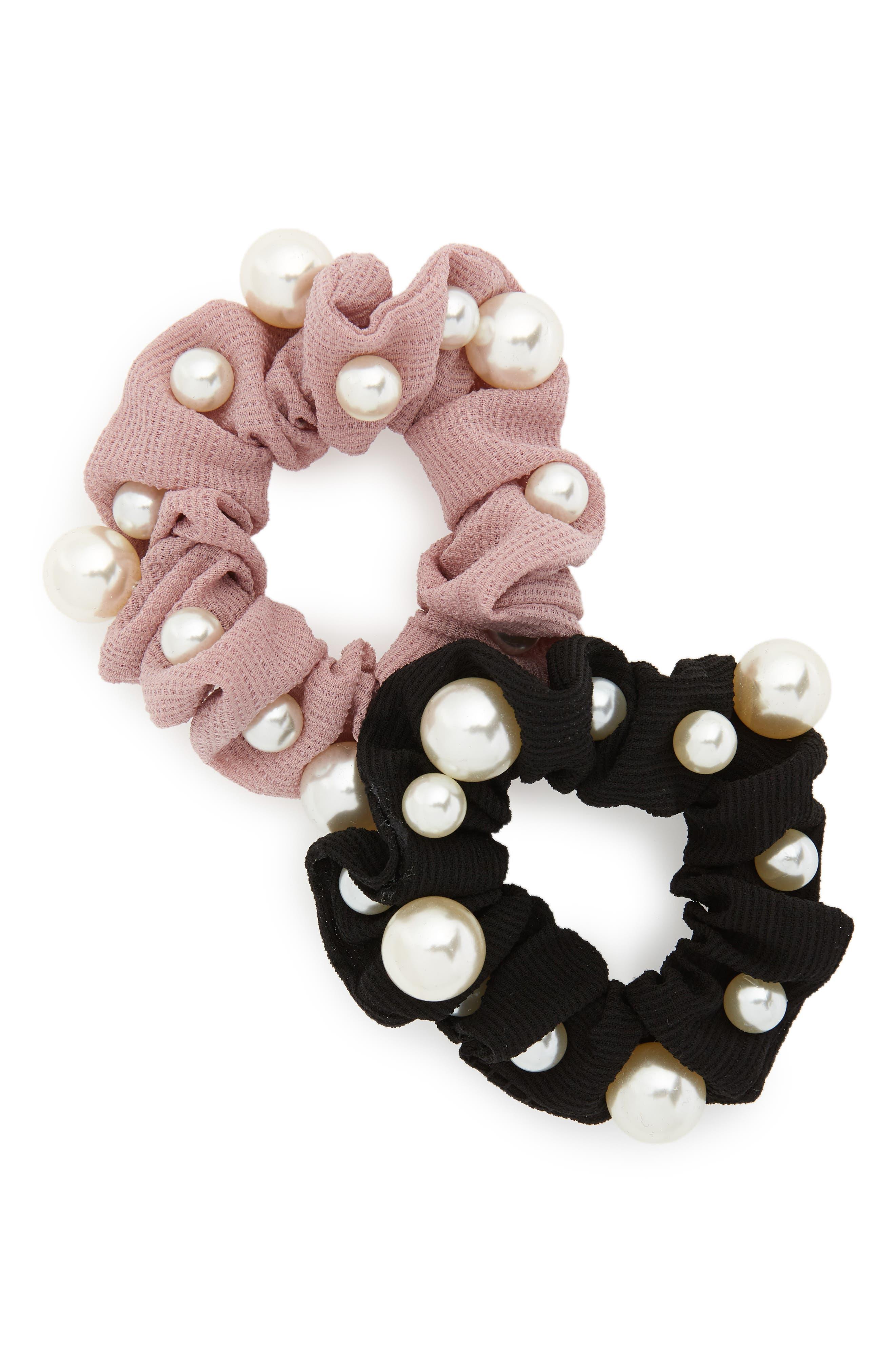 2-Pack Imitation Pearl Scrunchies,                             Main thumbnail 1, color,                             Black/ Pink